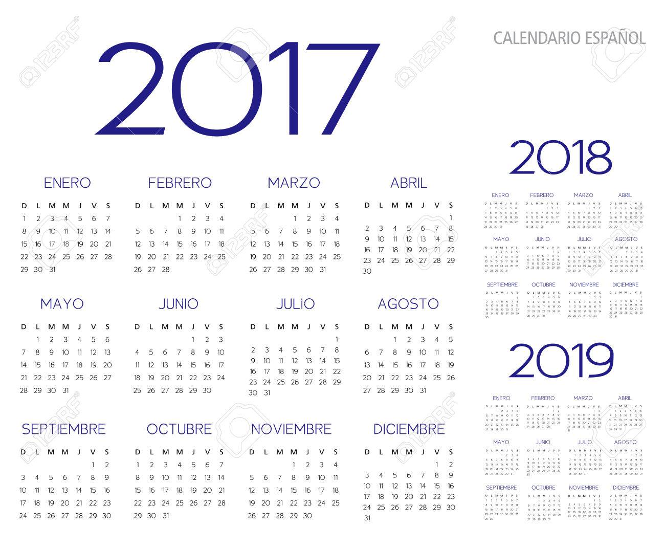 spanish calendar 2017 2018 2019 vector text is outline version 10 stock vector