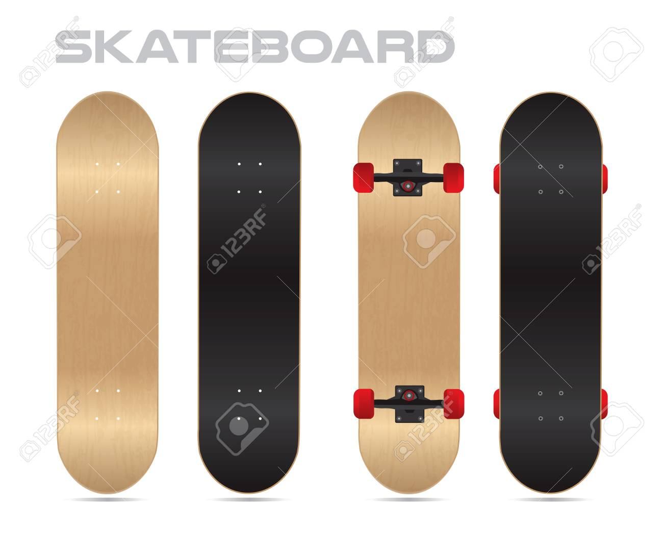 maple wood blank skateboard template vector two sides royalty free
