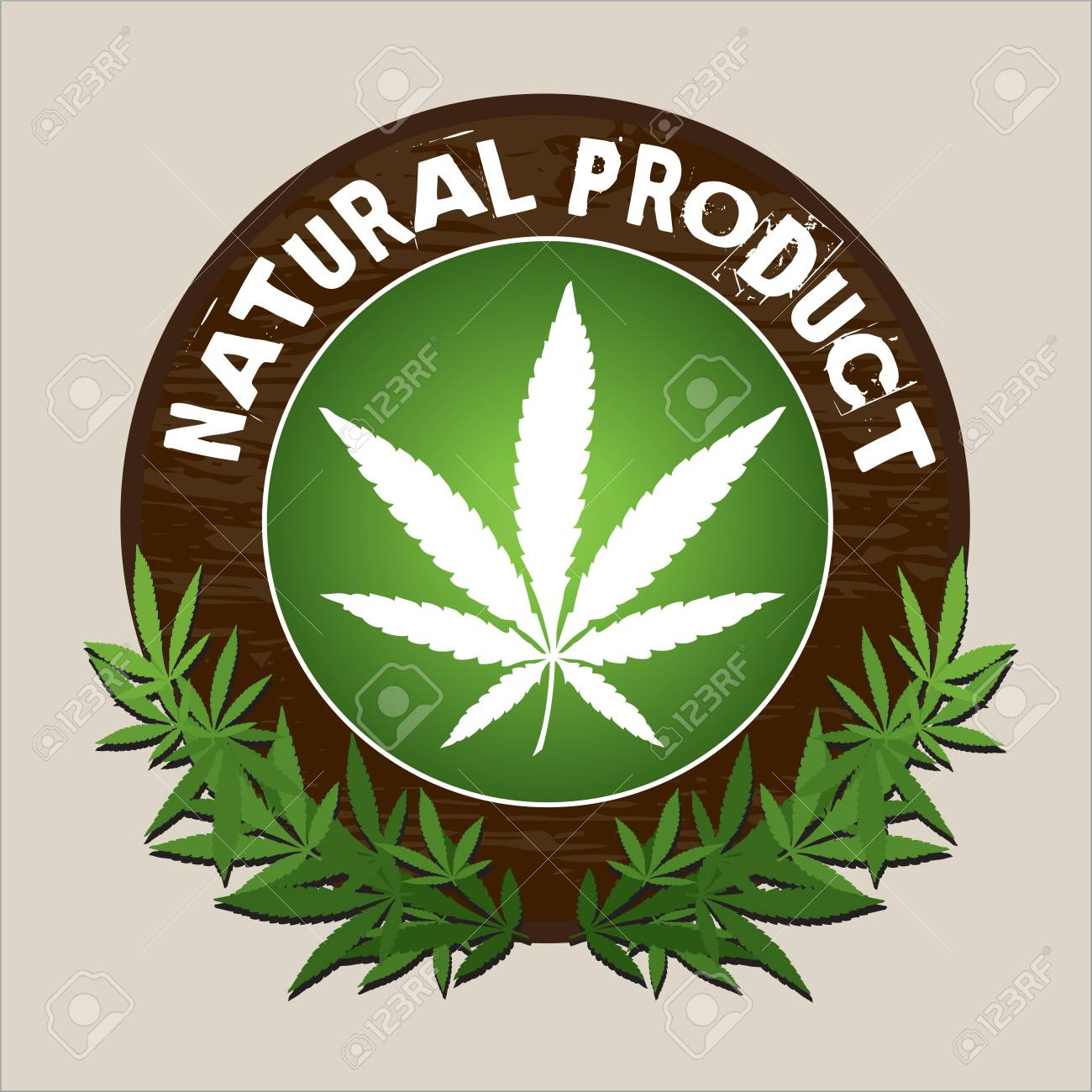 natural product marijuana vector label with wood round background,