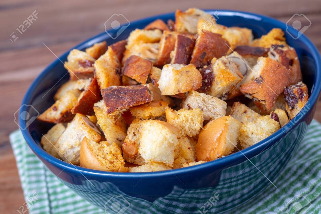 Fresh Tasty Homemade Crouton With Various Leftover Bread