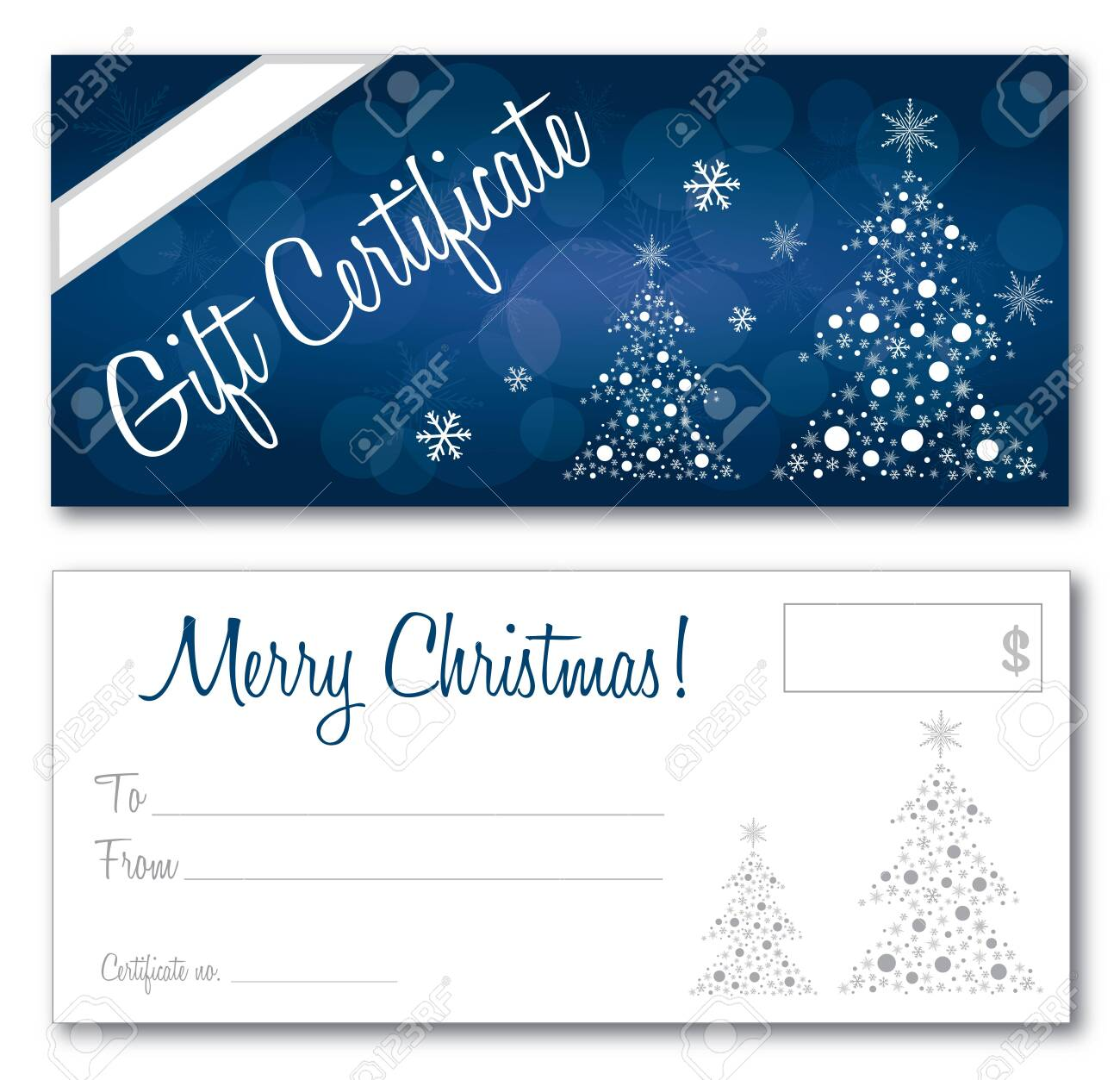 blue gift certificate christmas design vector front and back font outline no drop shadow on the vector - 135447661