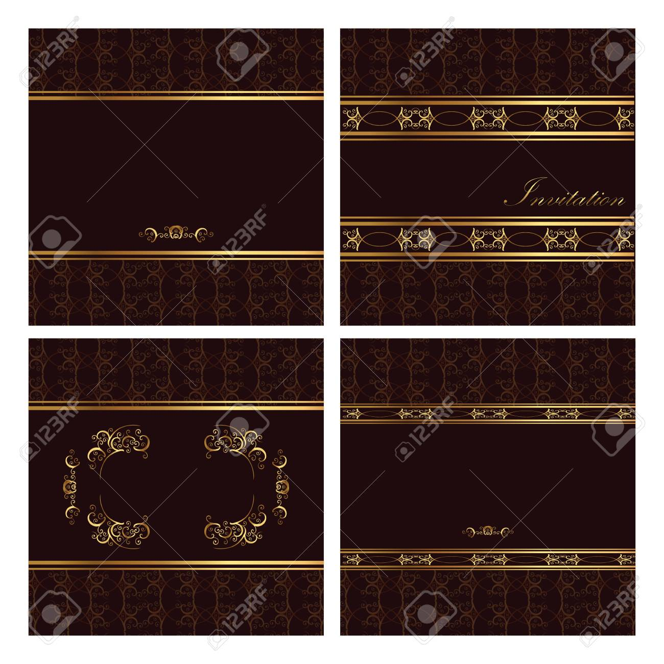 Brown golden Invitation post cards Stock Vector - 21200641