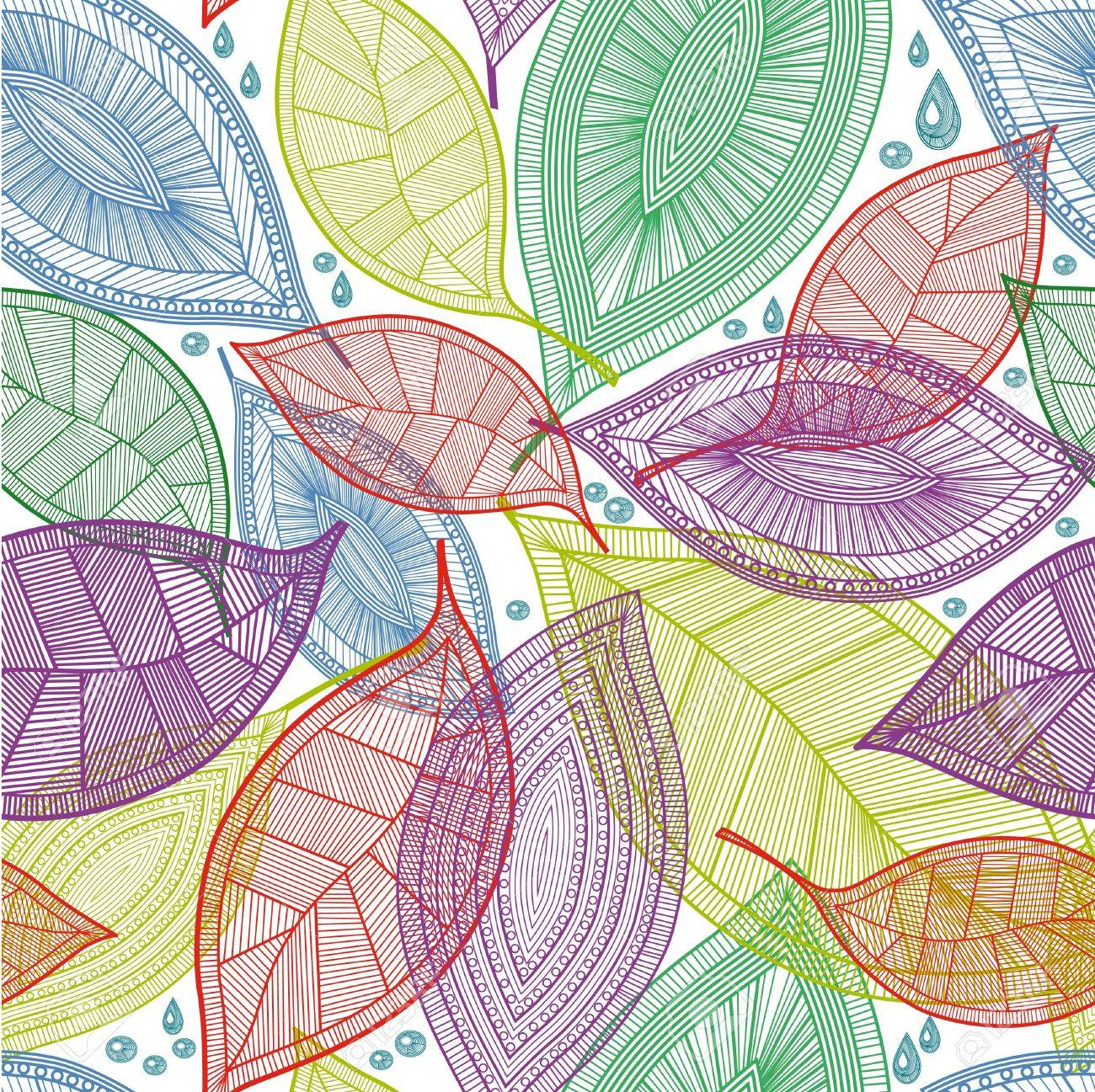 Seamless abstract color leaves pattern - 11655670