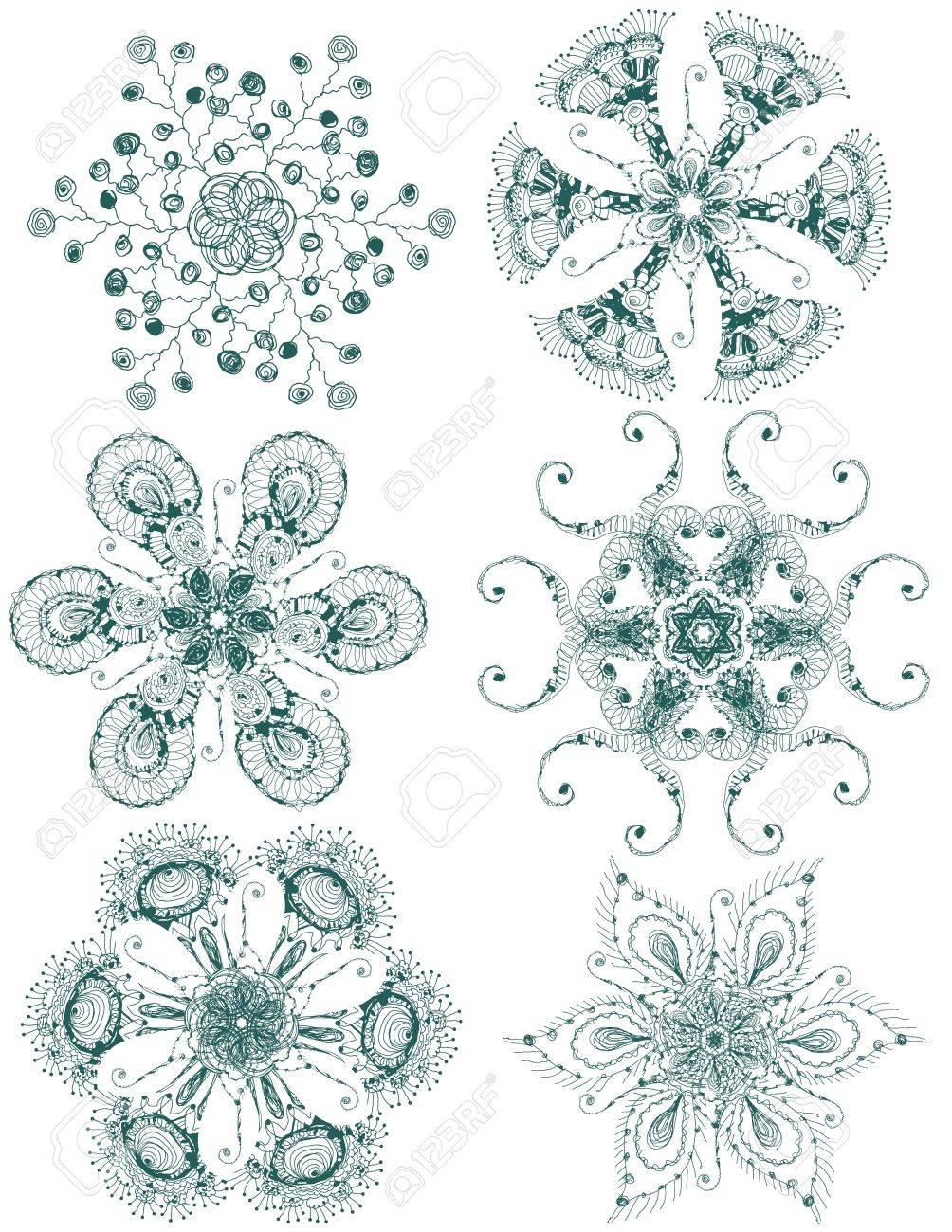 Vector hand drawn vintage set of snowflakes - 11655697
