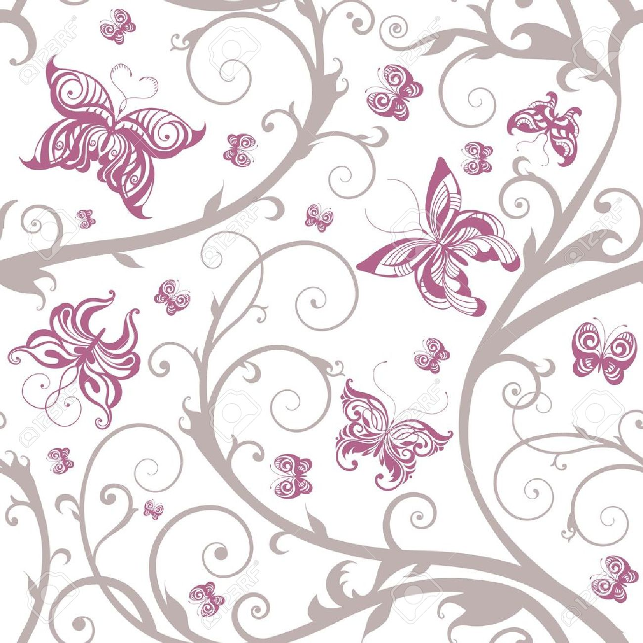 Romantic floral butterfly seamless pattern - 11655678