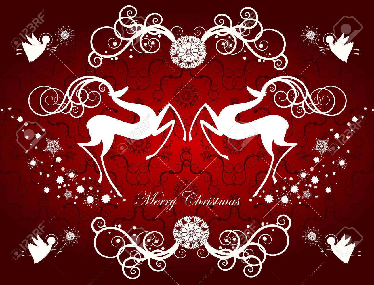 Christmas card with reindeers and snowflakes Stock Vector - 11655714