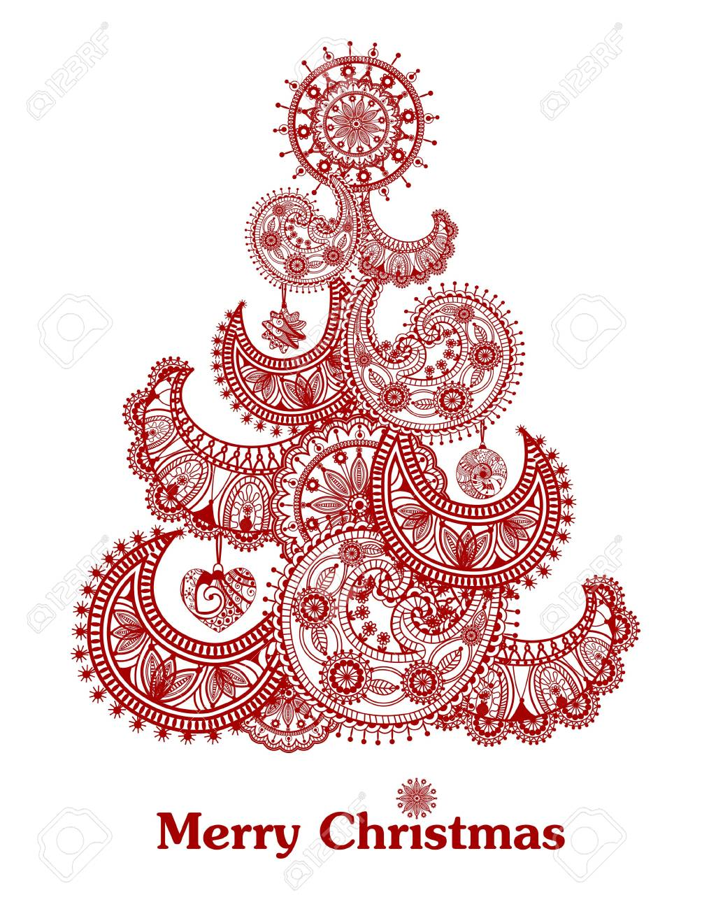 Abstract red christmas tree - 11655709