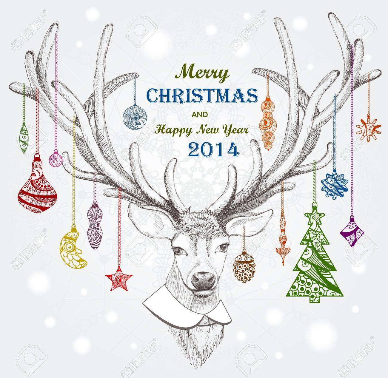 Christmas deer. Holiday background. Vector, EPS 10 - 24594609