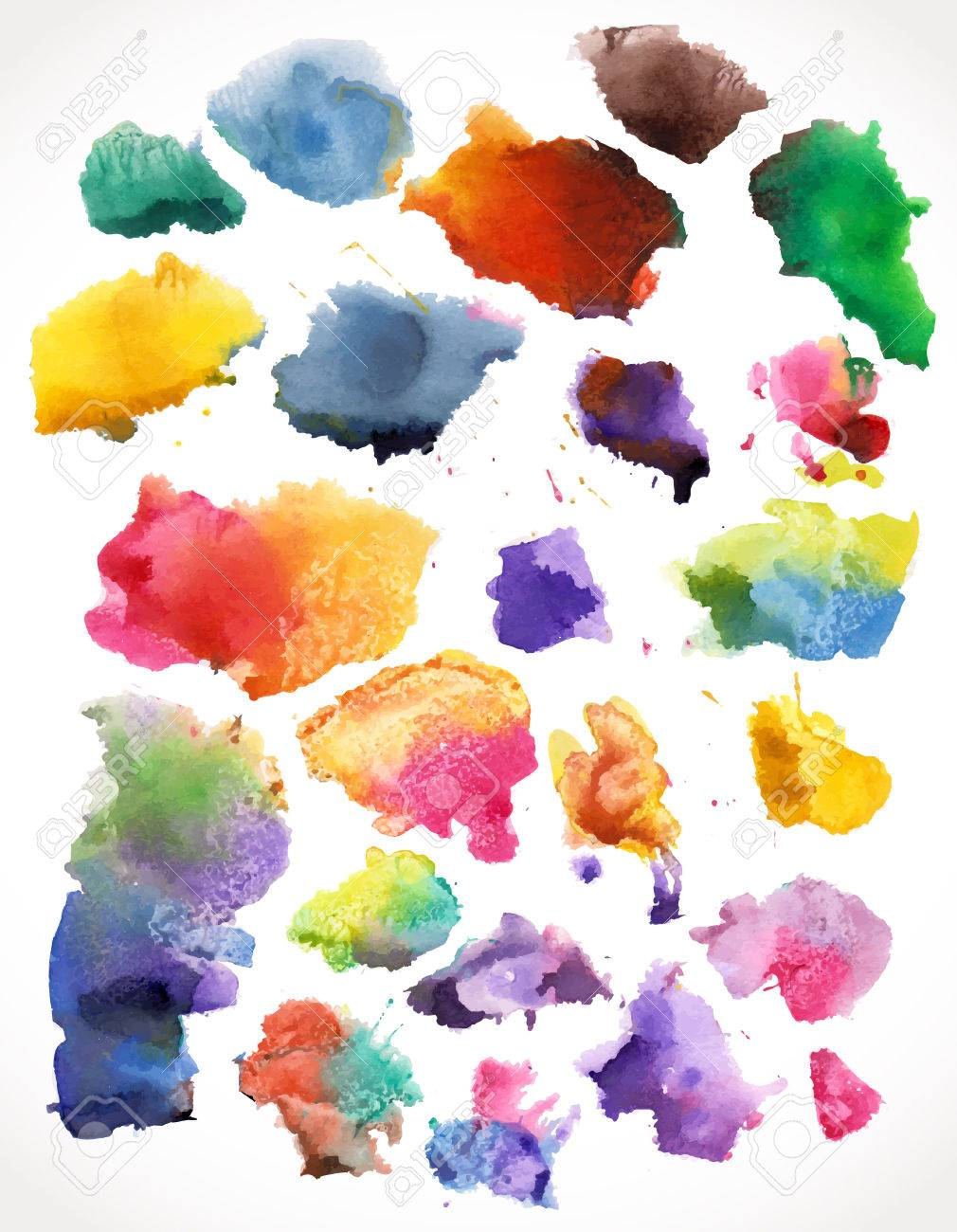 beautiful watercolor splashes, isolated. For your design - 25117811