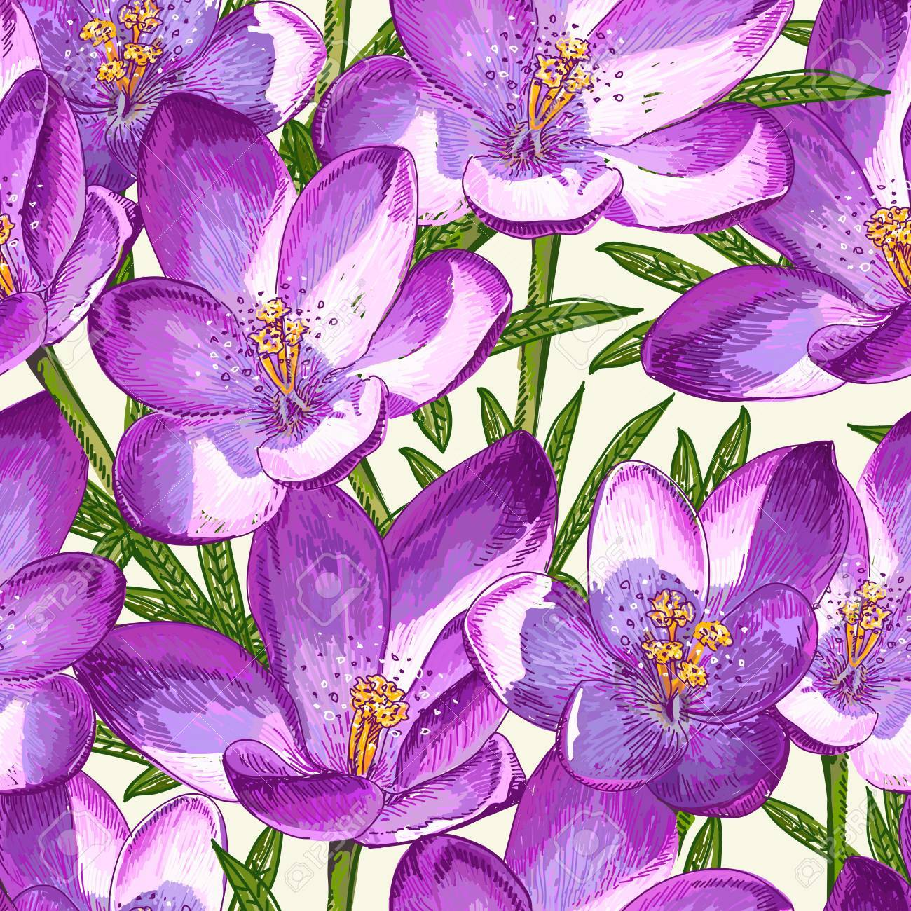 Seamless pattern with crocuses - 27245210