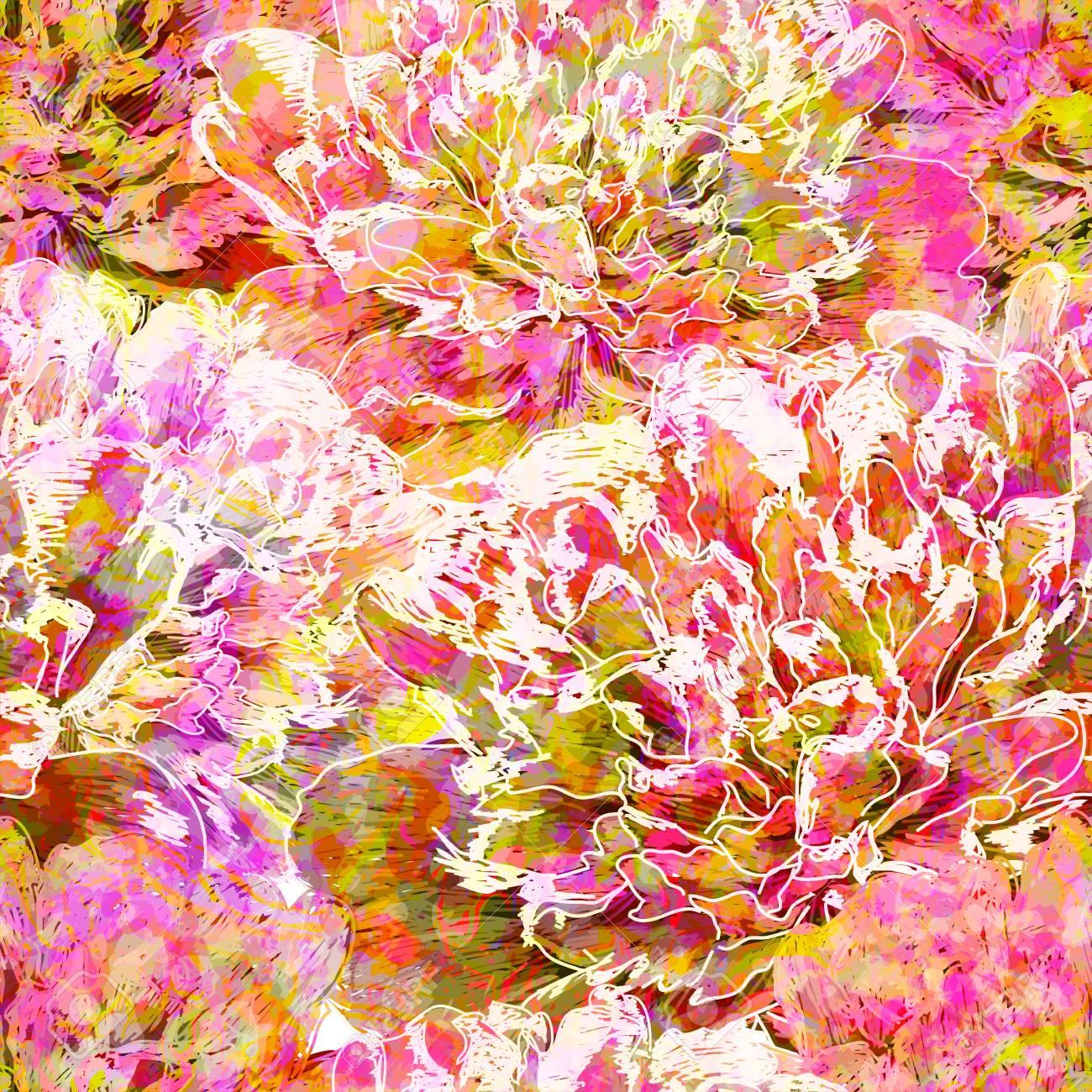 Seamless pattern peony flowers. - 31099899