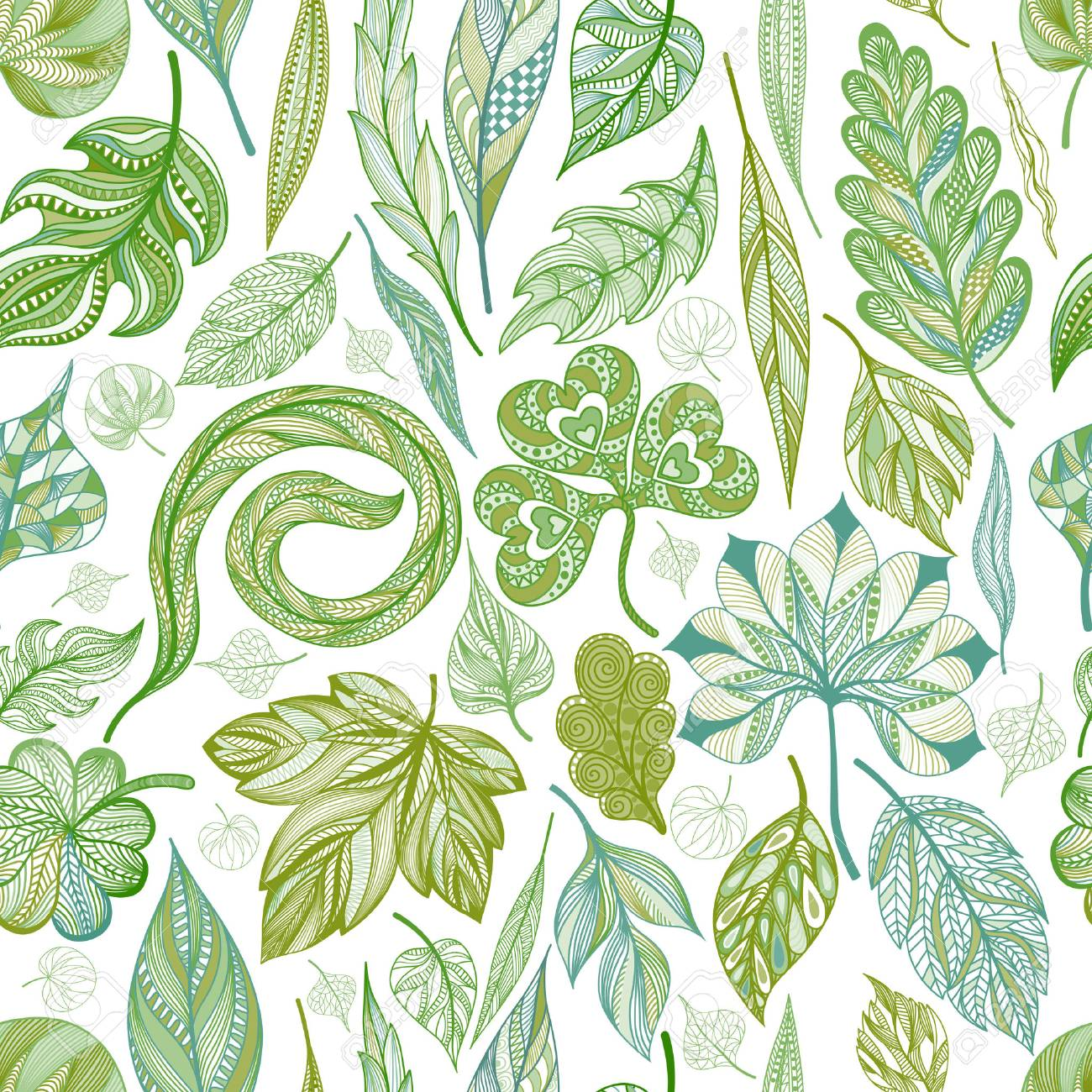 Seamless pattern with abstract leaf. - 52231601