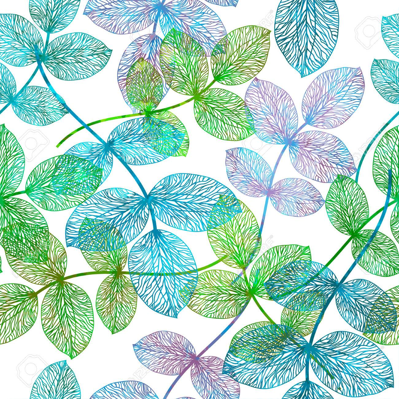 Seamless pattern with abstract leaf. - 52266137
