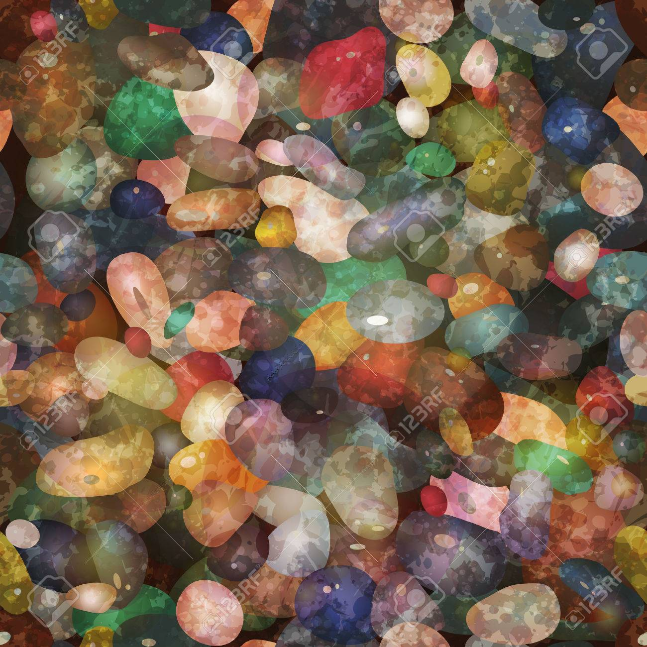 Seamless pattern with colorful pebbly stones. - 52266143