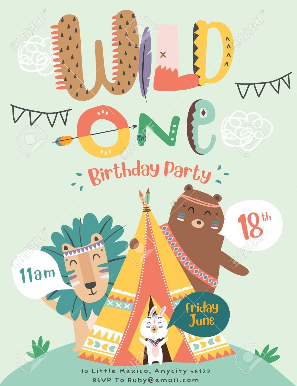 Happy Birthday Party Invitation Card With Cartoon Tribal Animals