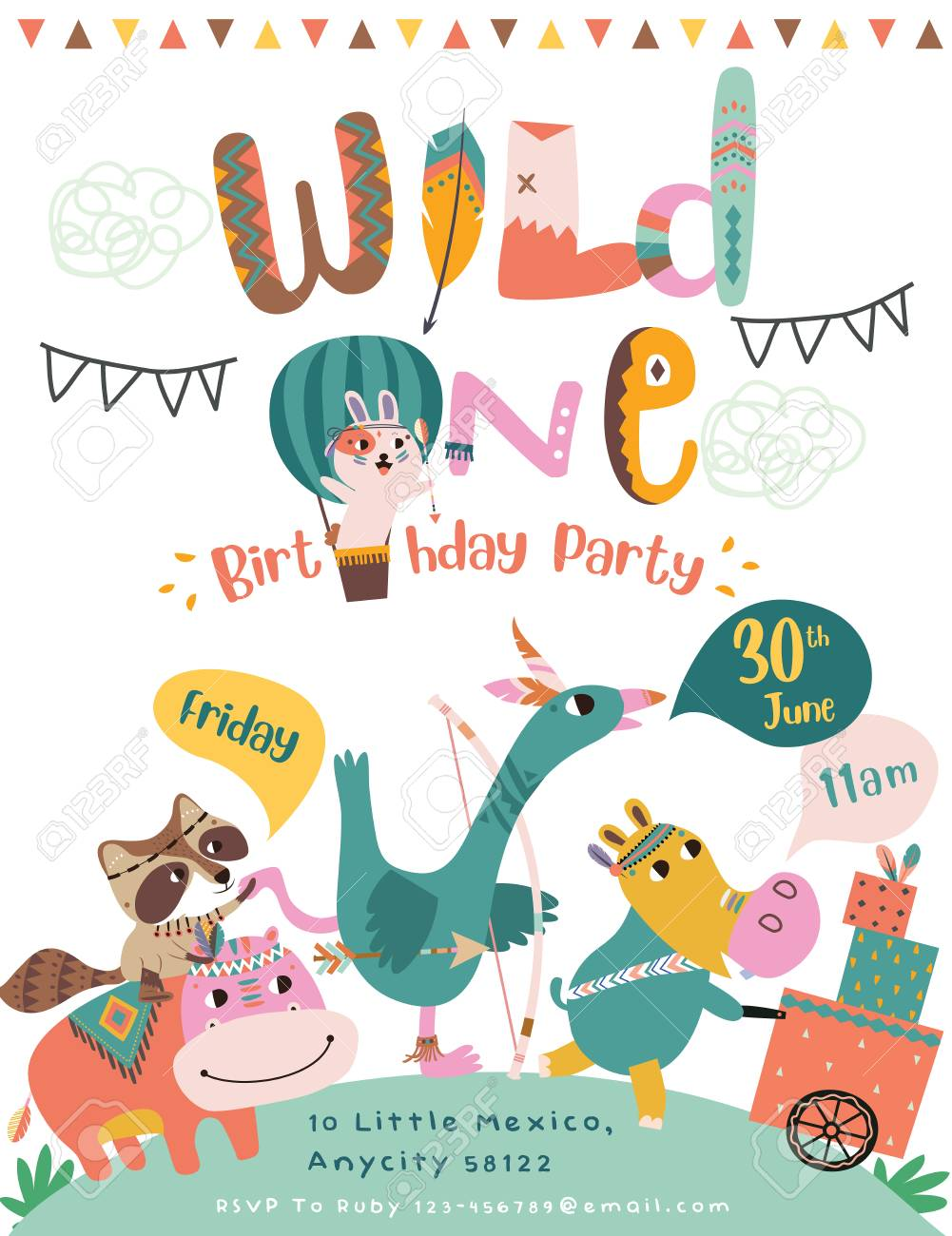 Happy Birthday Party Invitation Card With Cartoon Tribal Animals