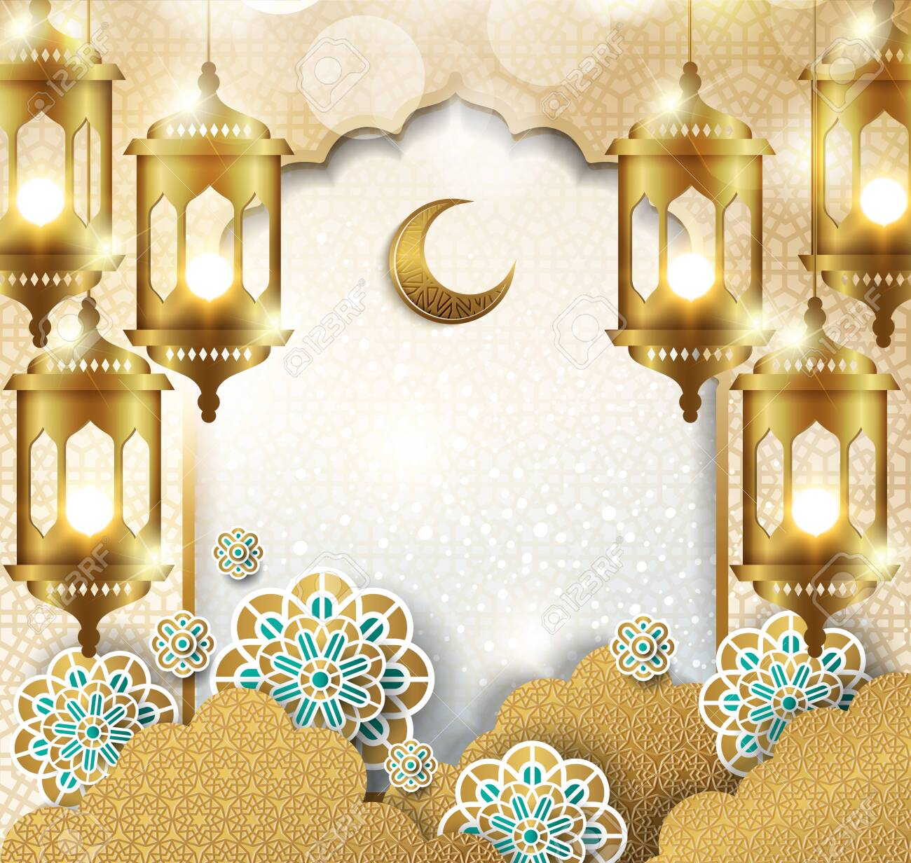Ramadan kareem half a month with cut Clouds, 3D paper and golden lantern template islamic ornate background - 125046358