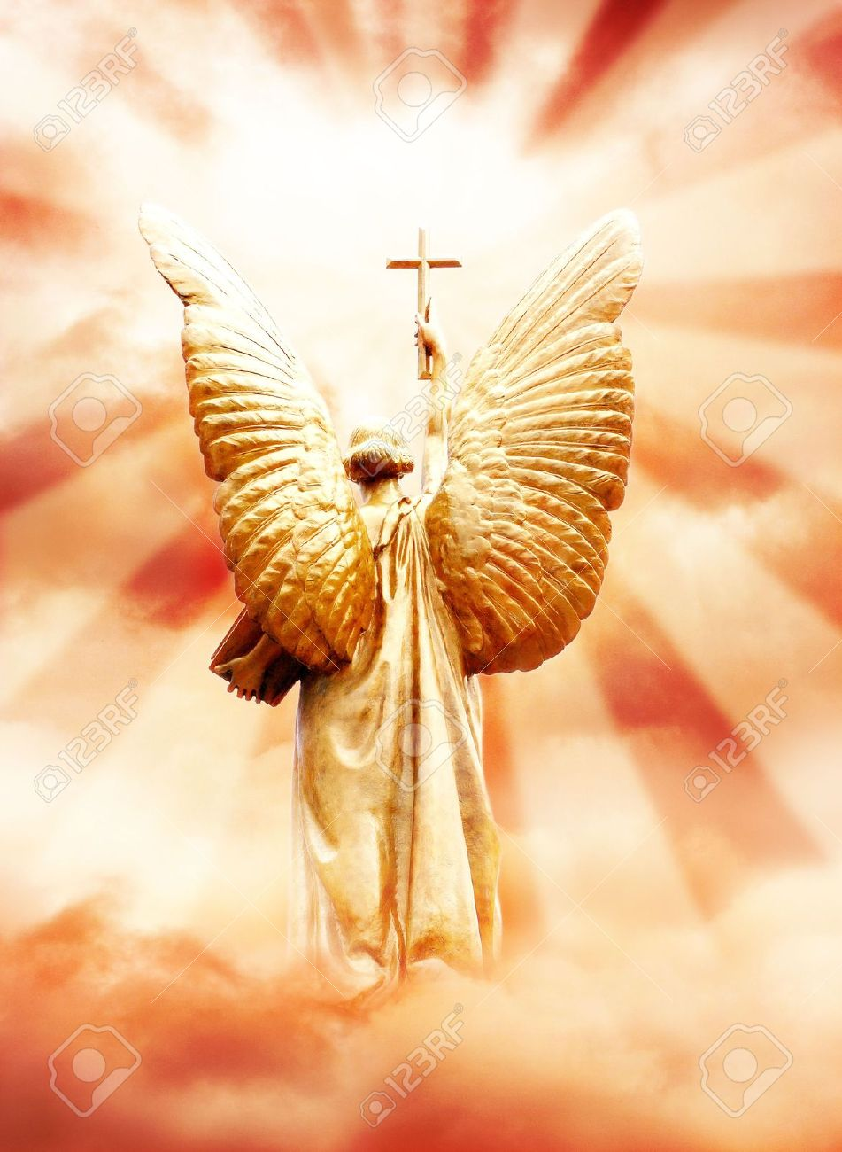 god u0027s angel with the cross in the sky stock photo picture and
