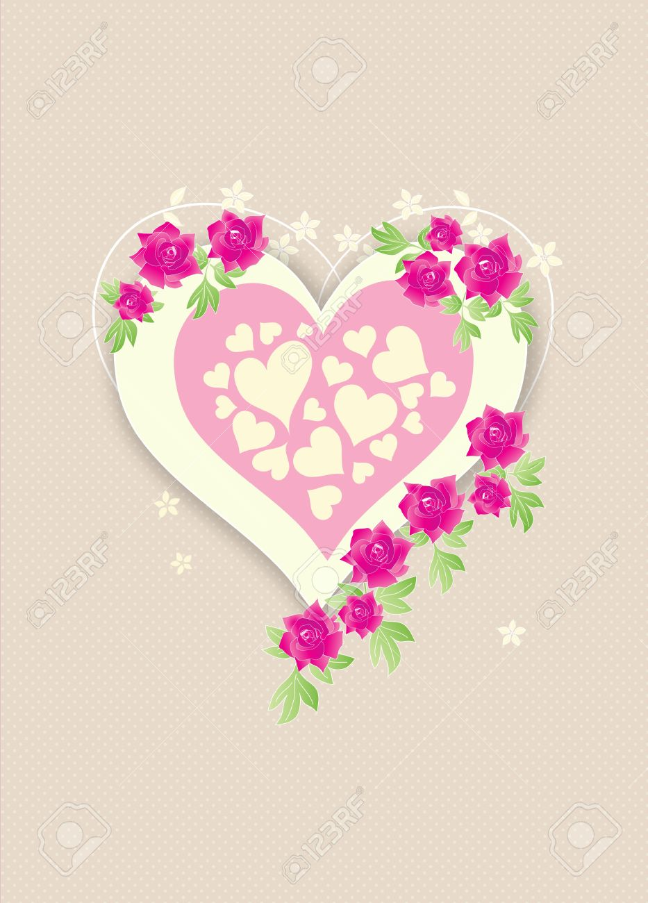 Beautiful retro love heart with pink roses on beige polka dots background Stock Photo - 11451984