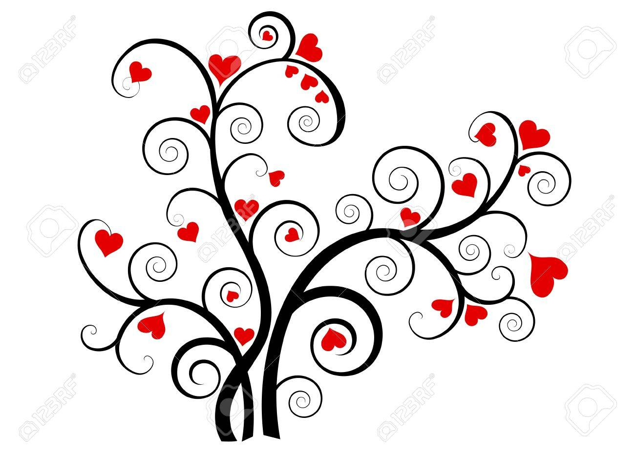 Valentine love tree with red hearts on white background Stock Photo - 11451973