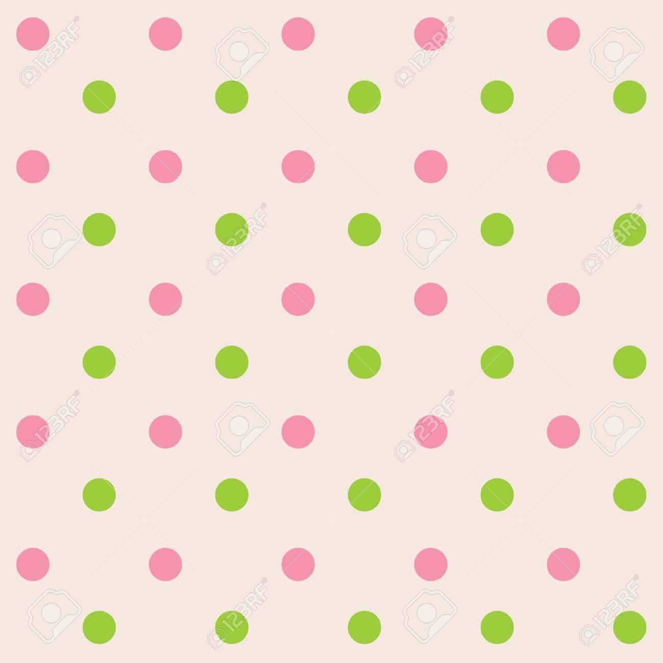 Dots cream pink green seamless pattern Stock Vector - 12957662