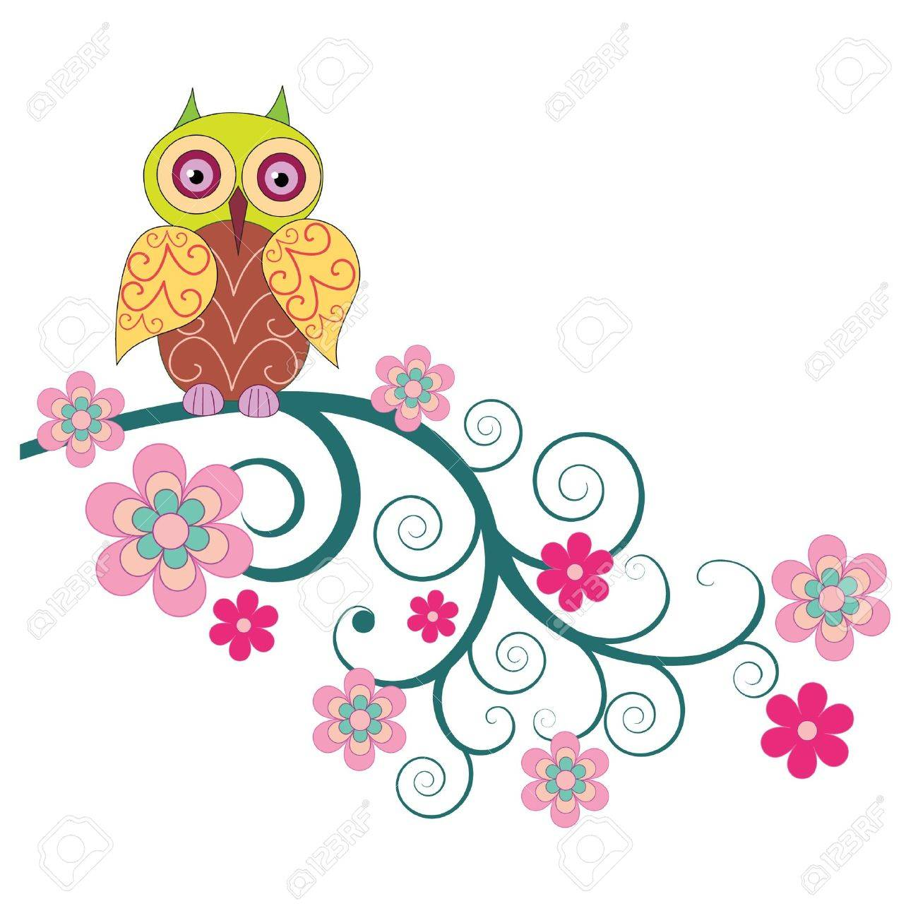 A cute owl sitting on the branch of flowers vector illustration Stock Vector - 16984340