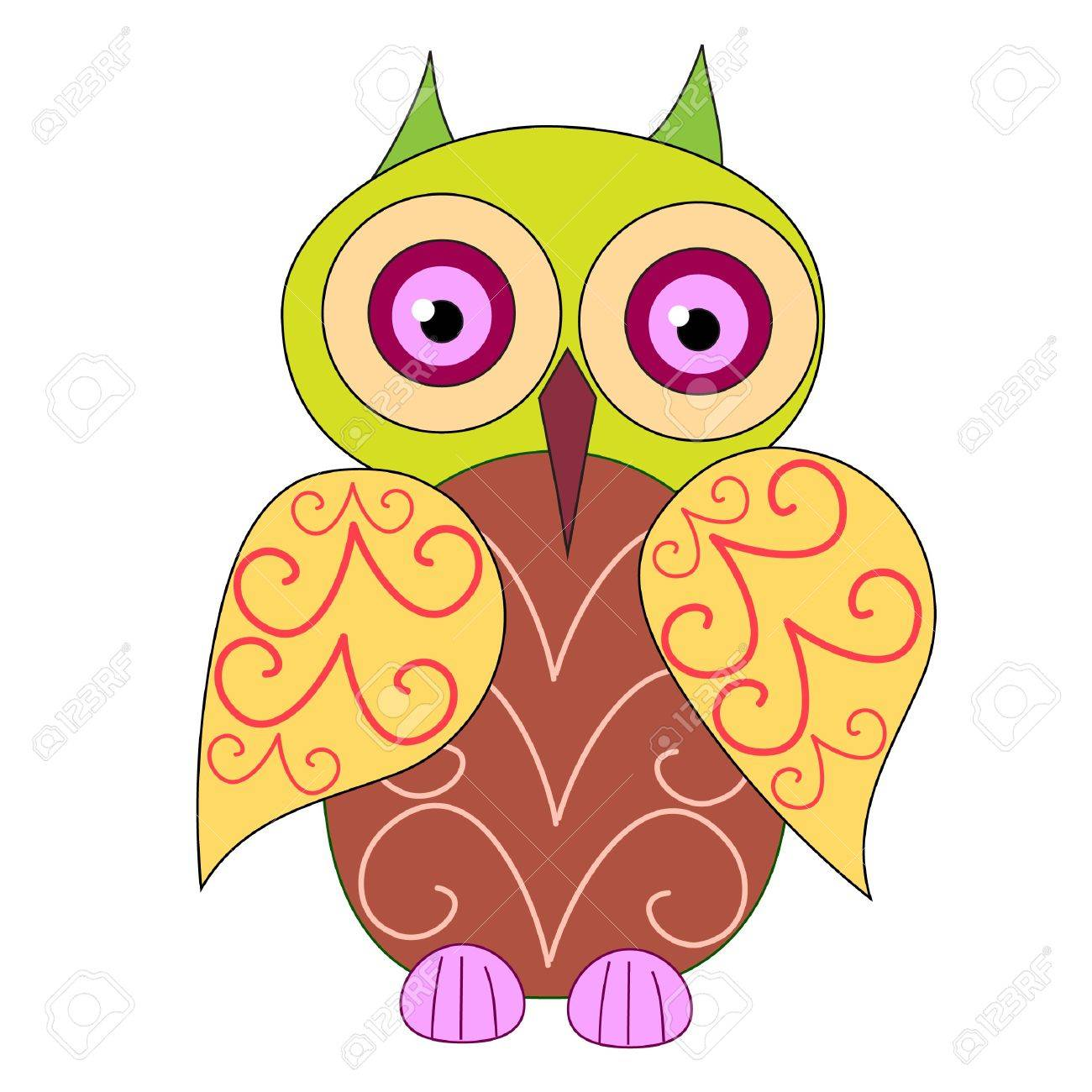A cute owl on the white background Stock Vector - 16984345