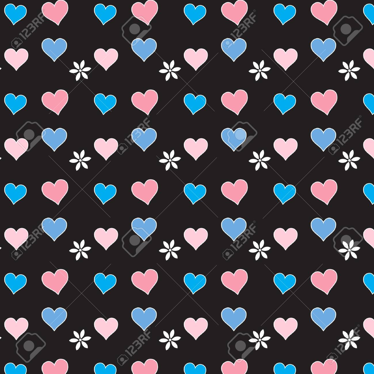 Pink and blue hearts on black seamless vector Stock Vector - 16984349