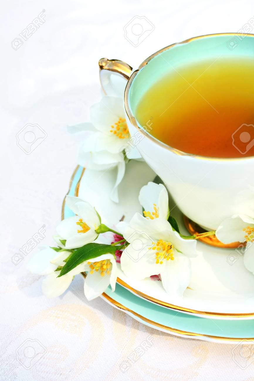 Jasmine tea with jasmine flowers close up Stock Photo - 21158722