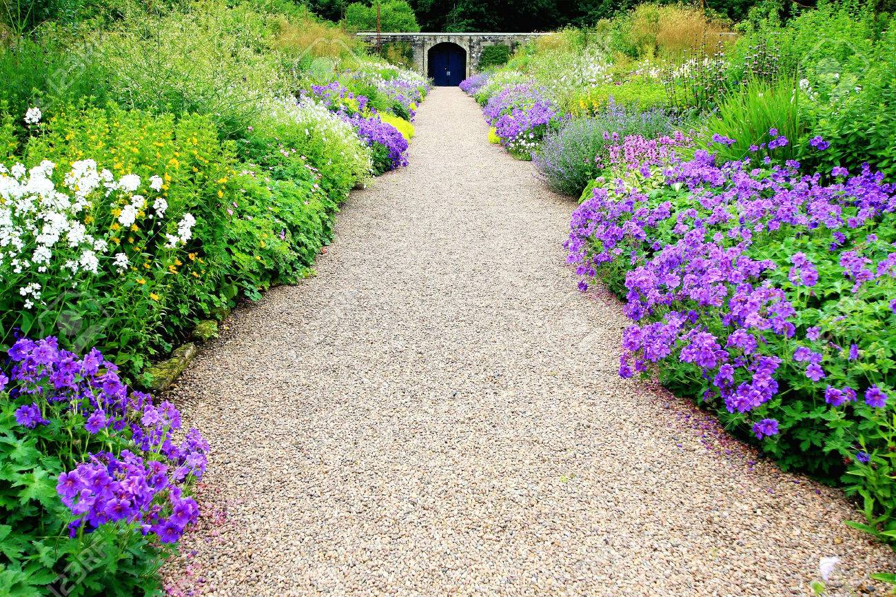 Flower Garden Path flower garden path stock photos & pictures. royalty free flower