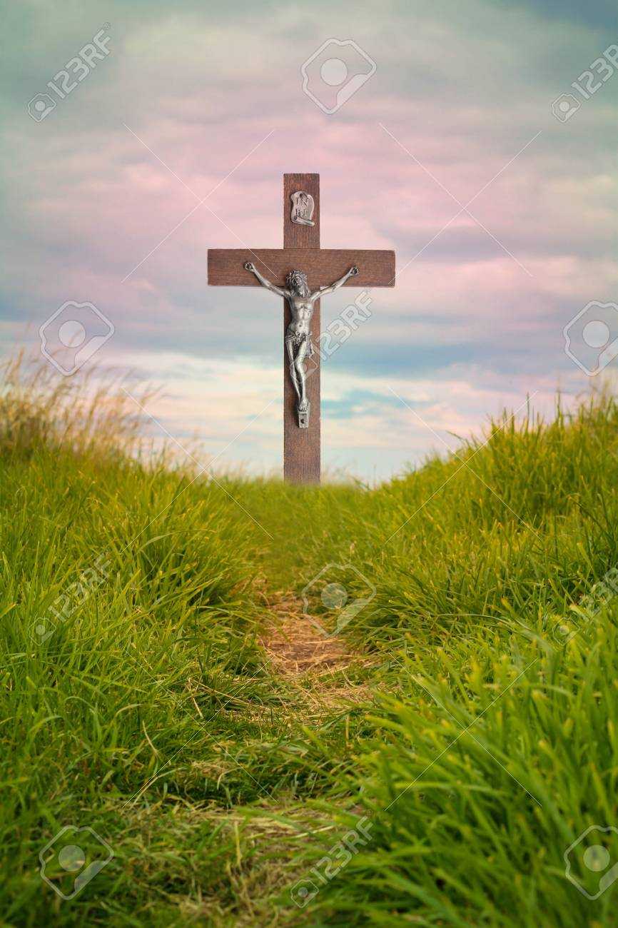 The Cross Of Jesus Christ And Beautiful Clouds Stock Photo Picture