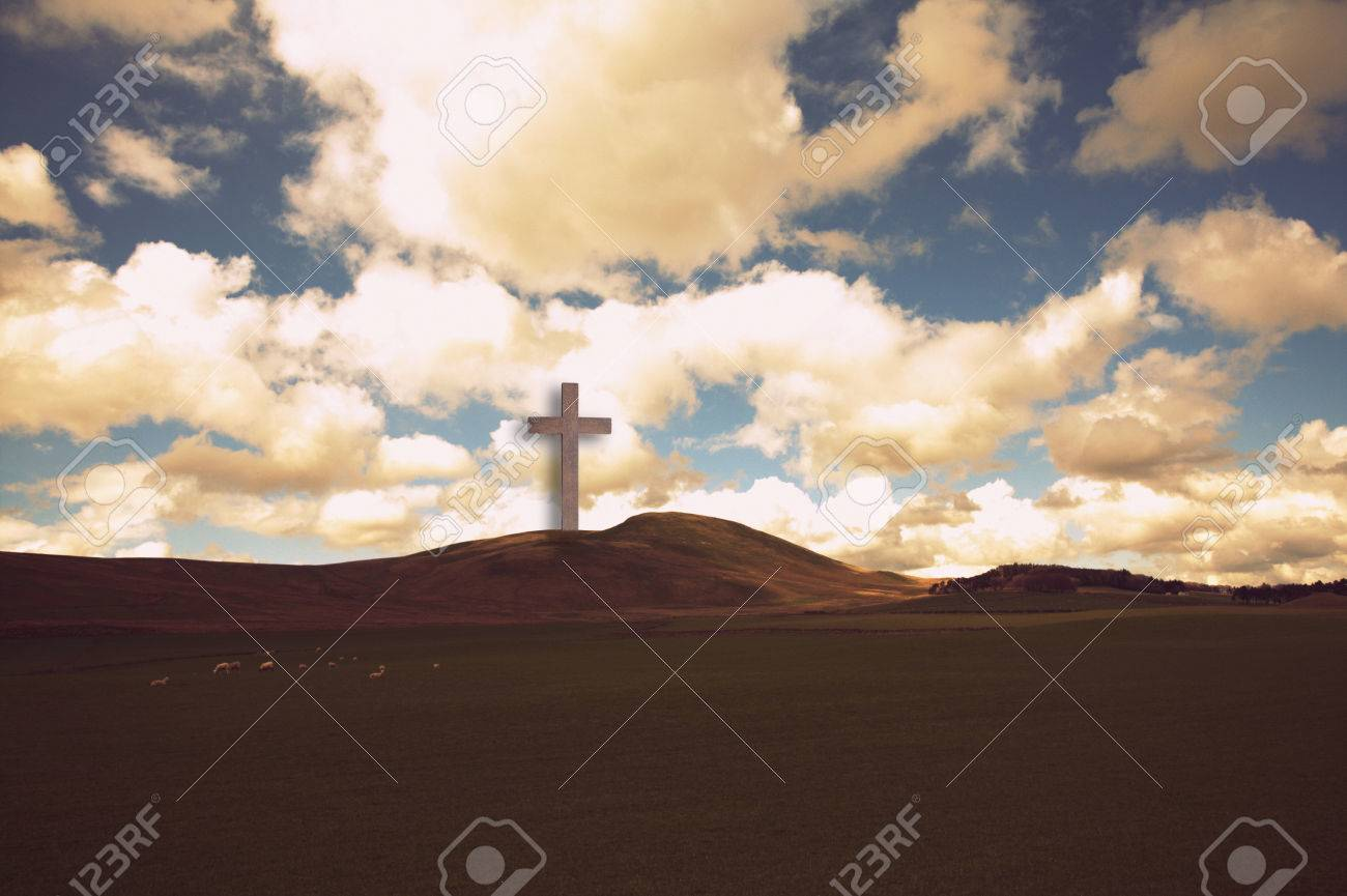 The Cross Of Jesus Christ In Beautiful Landscape Stock Photo