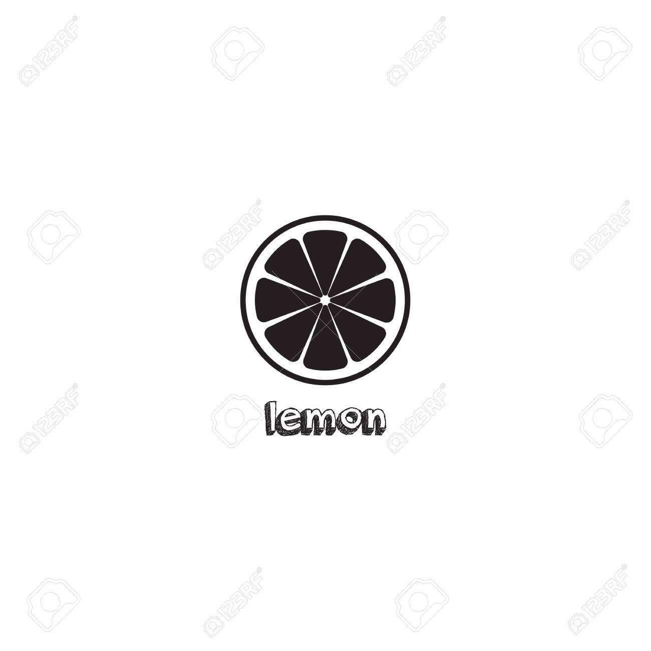 Lemon slice vector icon illustration on white background. Fresh sour vector lemon icon. Lemon sign, symbol, emblem. - 117186880