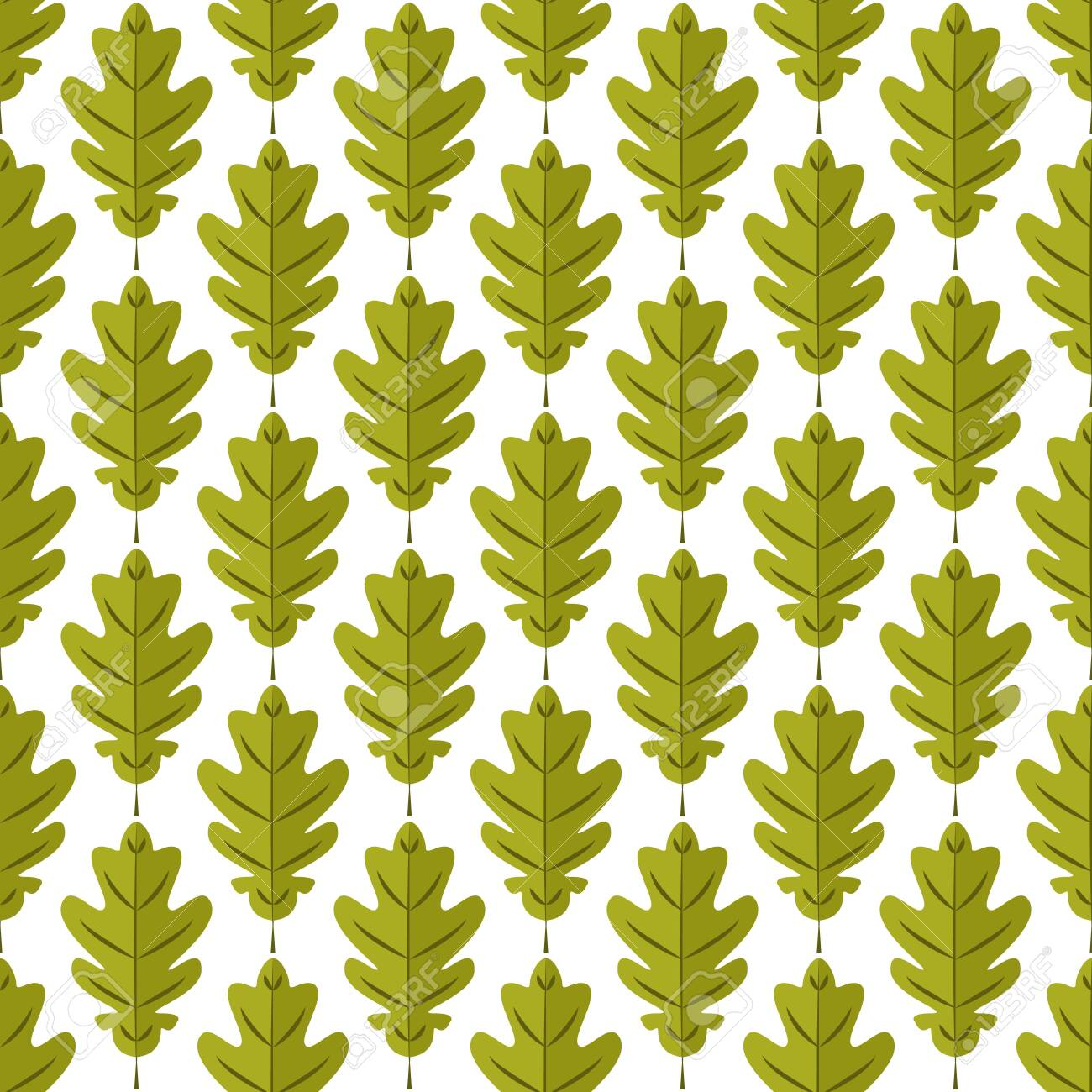 Seamless pattern  Oak leaves on white background  It can be used