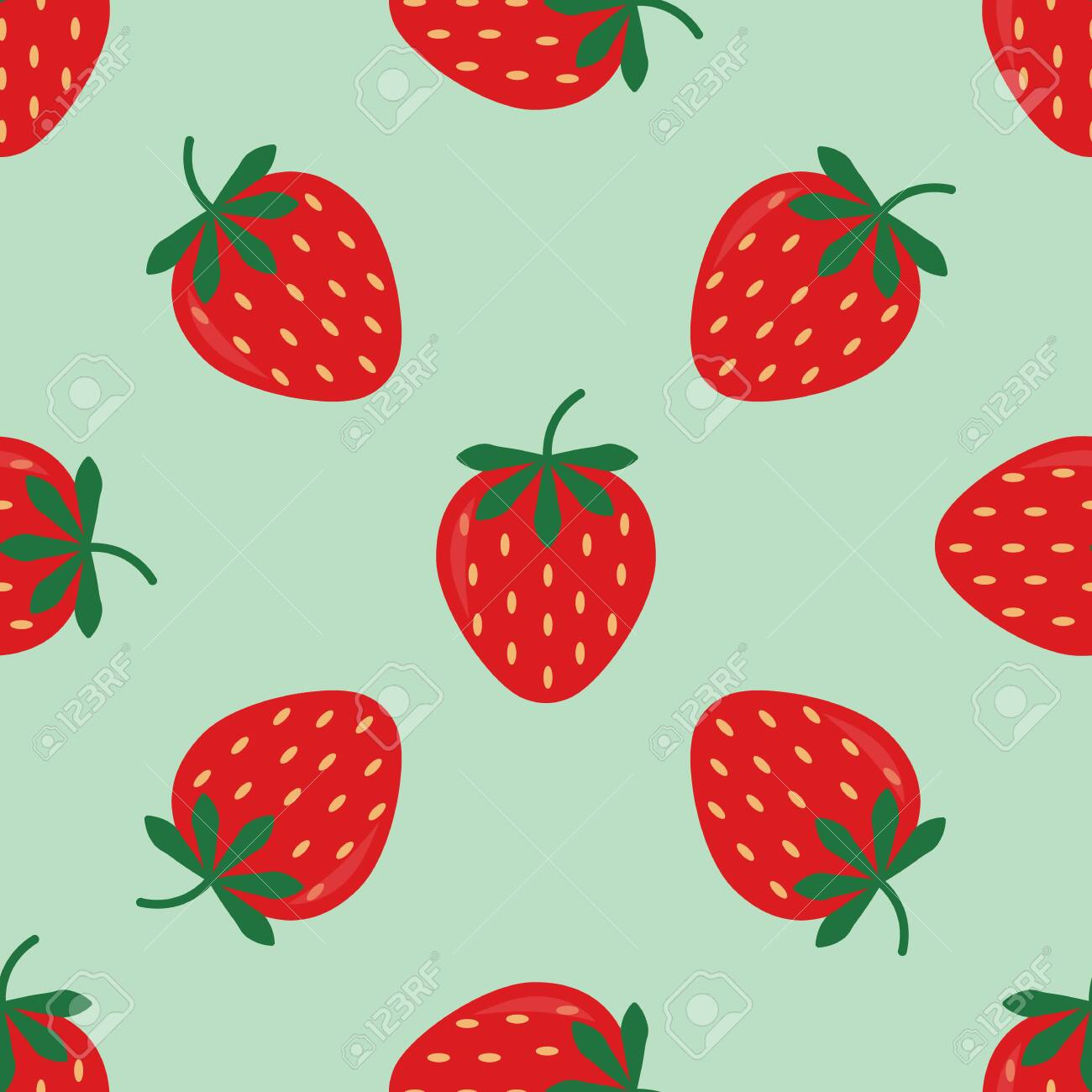 Seamless background with red strawberries. Cute vector strawberry pattern. Summer fruit illustration on blue pastel background. - 140683061