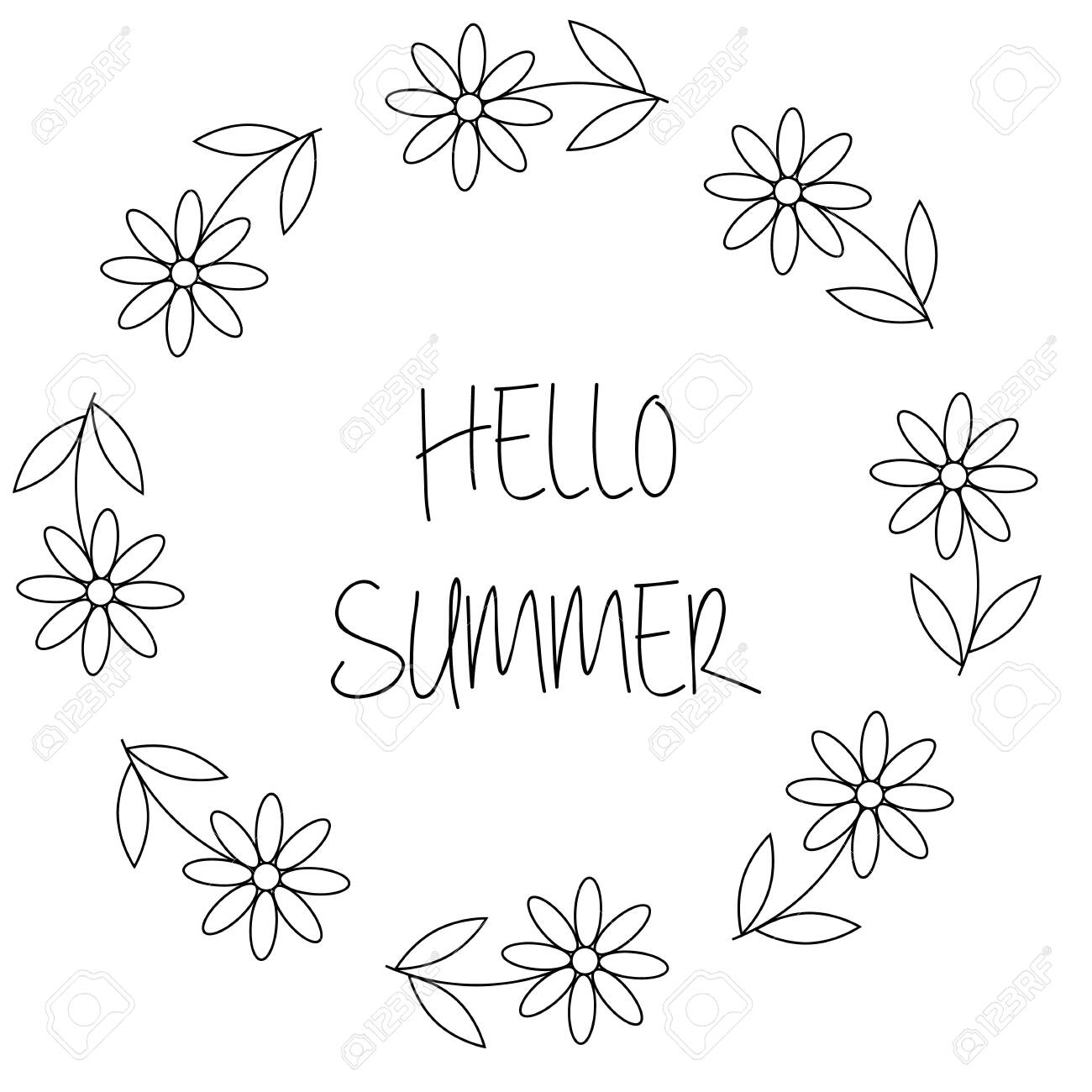 Floral wreath with chamomile or daisy flowers. Hello summer card in vector on white background - 143561376