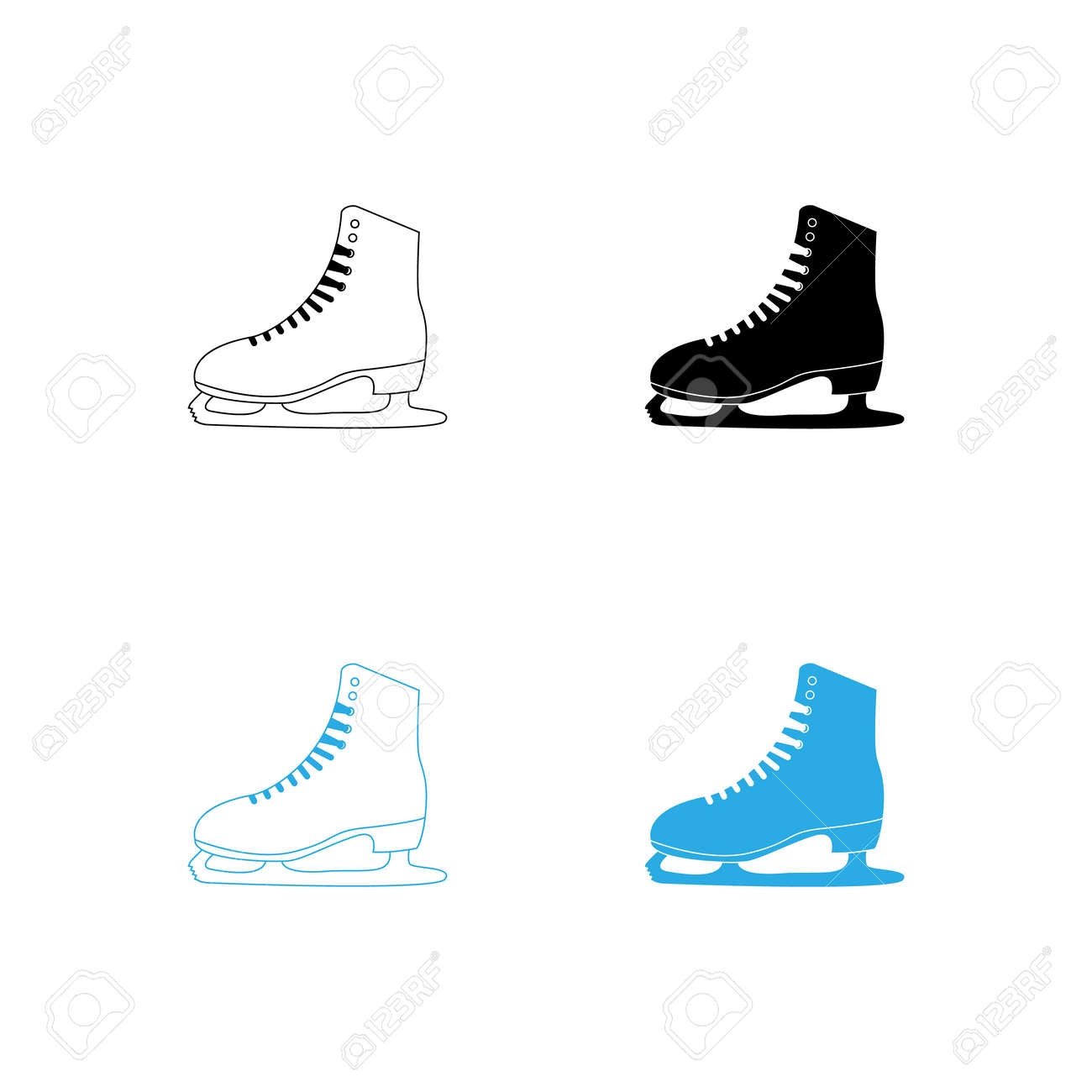 winter sports ice skating shoes vector illustration flat design - 167138310