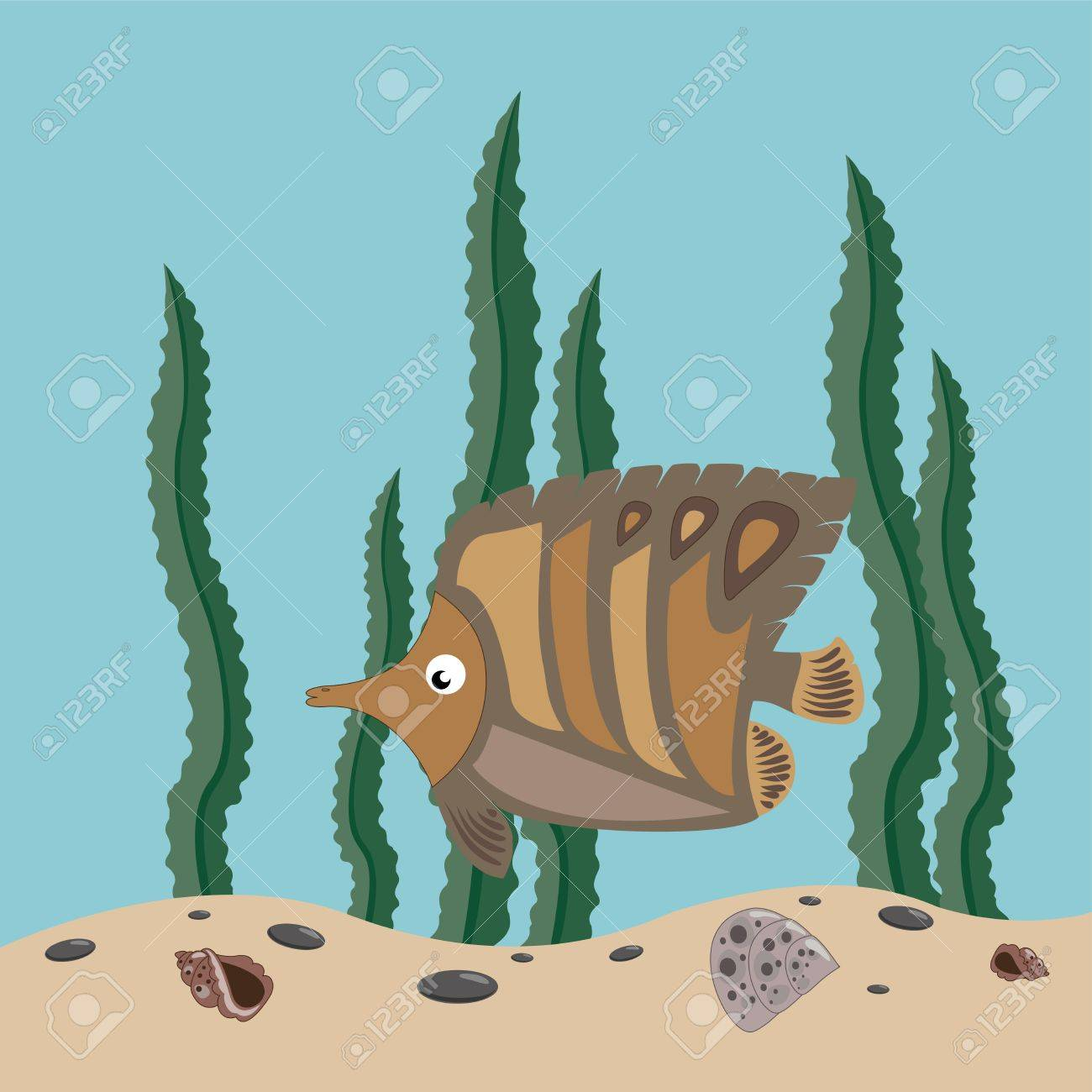 funny brown fish swims in the sea Stock Vector - 9694413