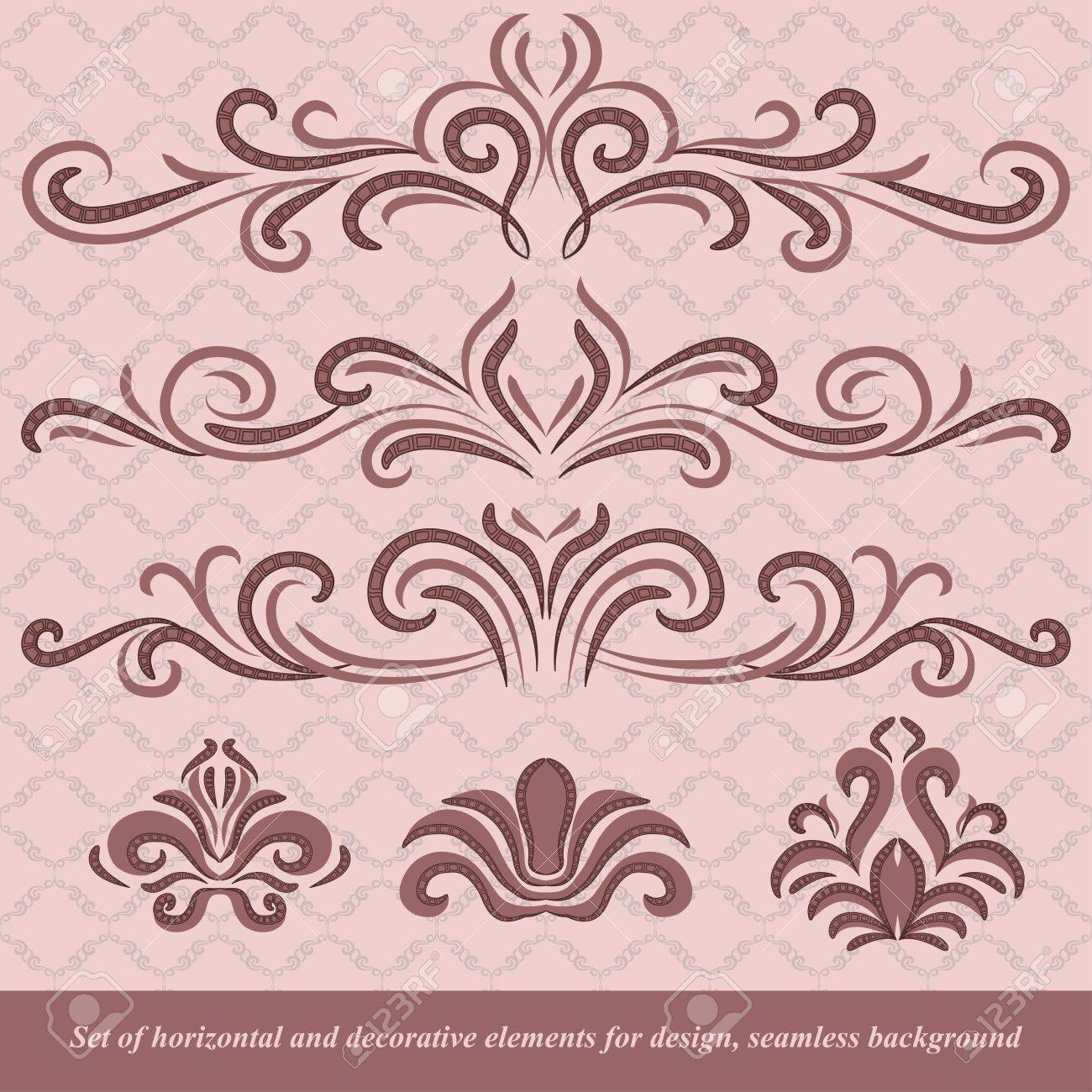 Set of horizontal and decorative vector elements for design. In vintage style. Basic elements are grouped. Stock Vector - 10297441