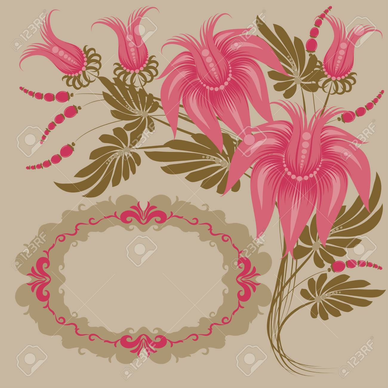 Flowers on a beige background. Floral design. In vintage style. Basic elements are grouped. Stock Vector - 10459289