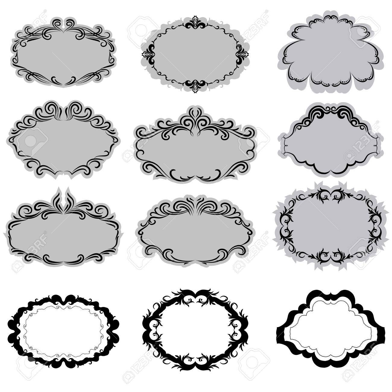 Set of ornate vector frames . In vintage style. Basic elements are grouped. Stock Vector - 10607788