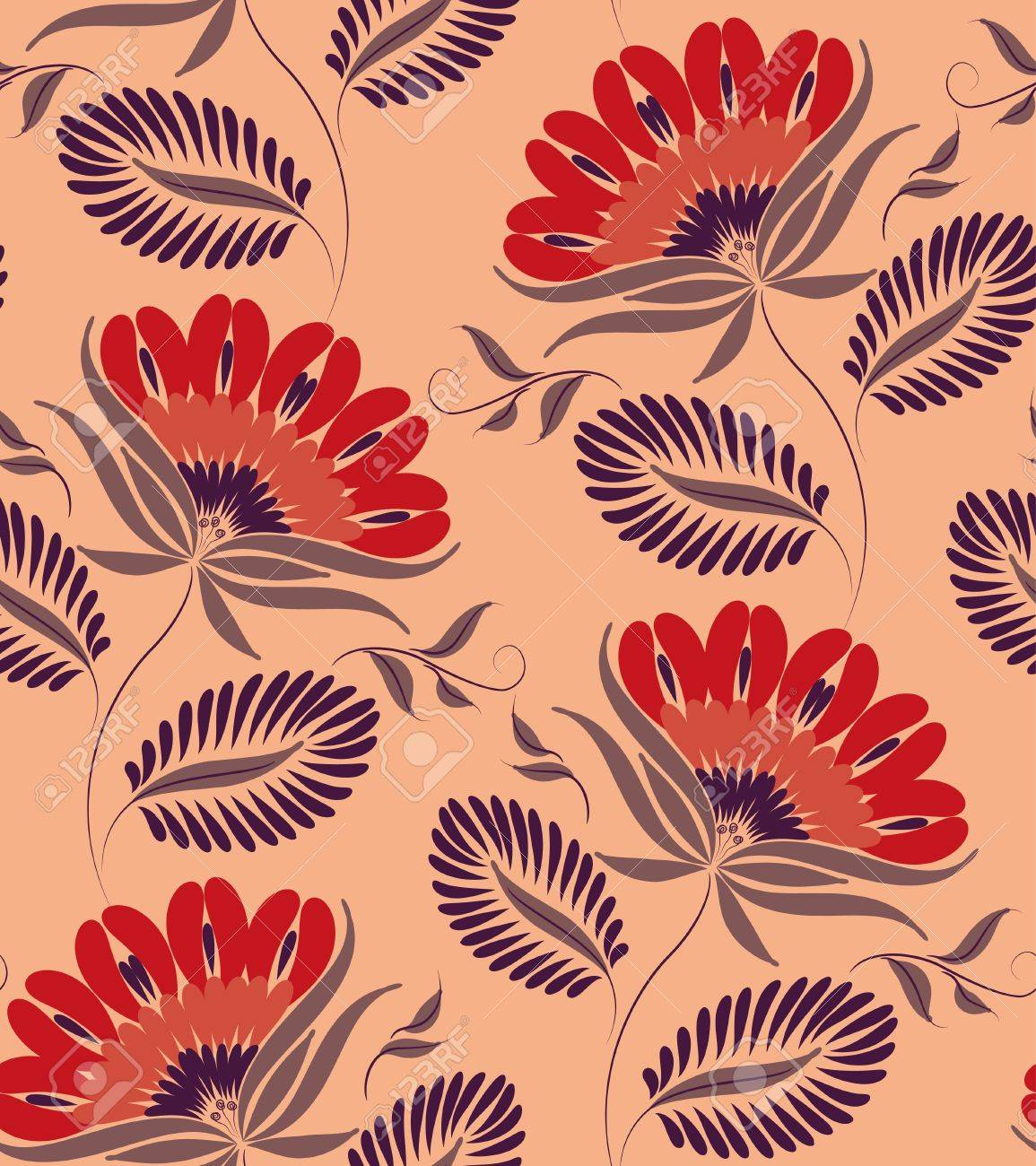 Flowers on a peach background. Floral design, in vintage style. Seamless pattern. Stock Vector - 10641246