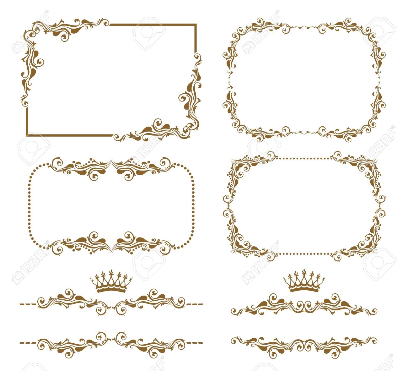 Vector set of decorative horizontal elements, border and frame Stock Vector - 12041920