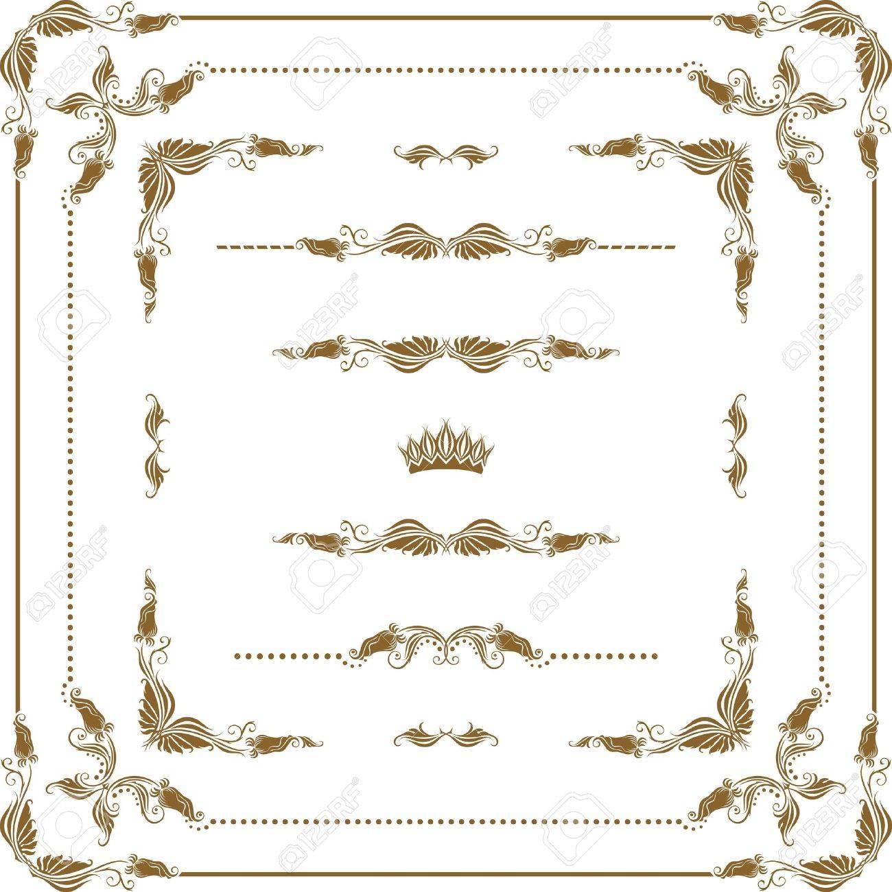 Vector set of decorative horizontal elements, border, frame Stock Vector - 12776627