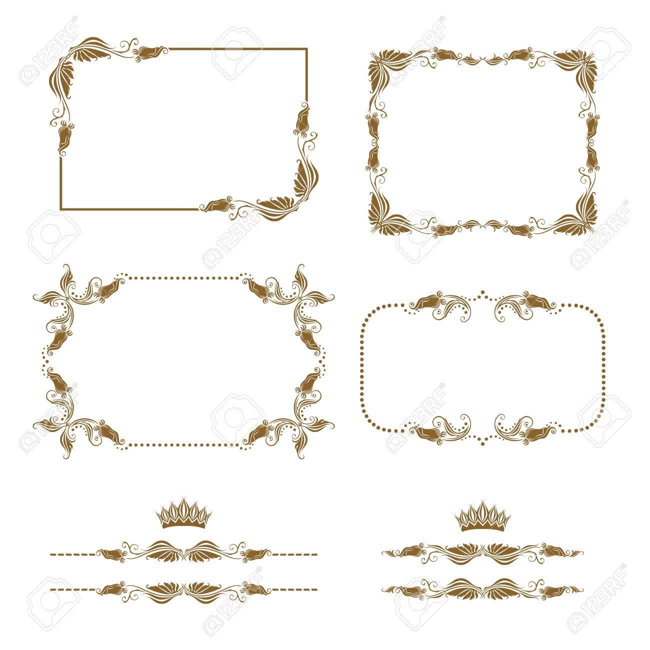 Vector set of decorative horizontal elements, border, frame Stock Vector - 12776632