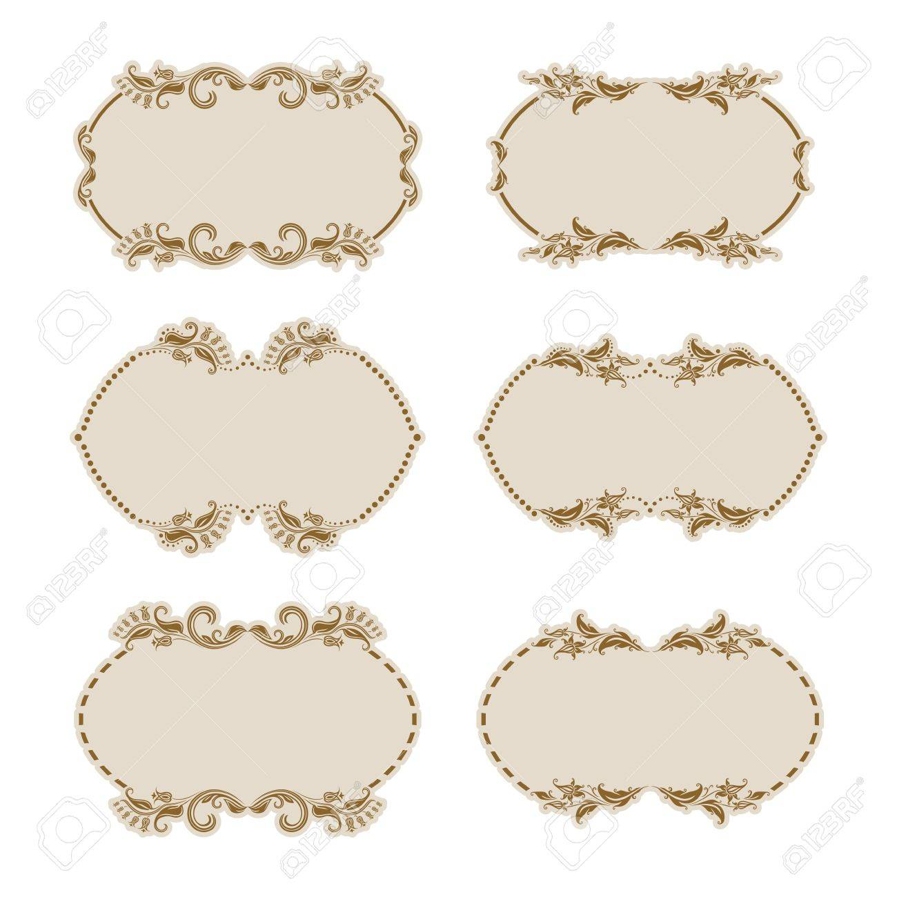 Set of ornate floral vector frames for invitations or announcements  In vintage style Stock Vector - 15327702
