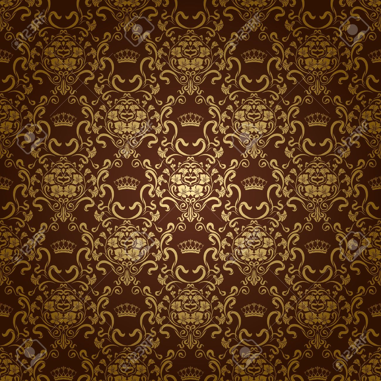 Damask Seamless Floral Pattern Royal Wallpaper Flowers And Crowns On A Dark Background EPS 10 Stock