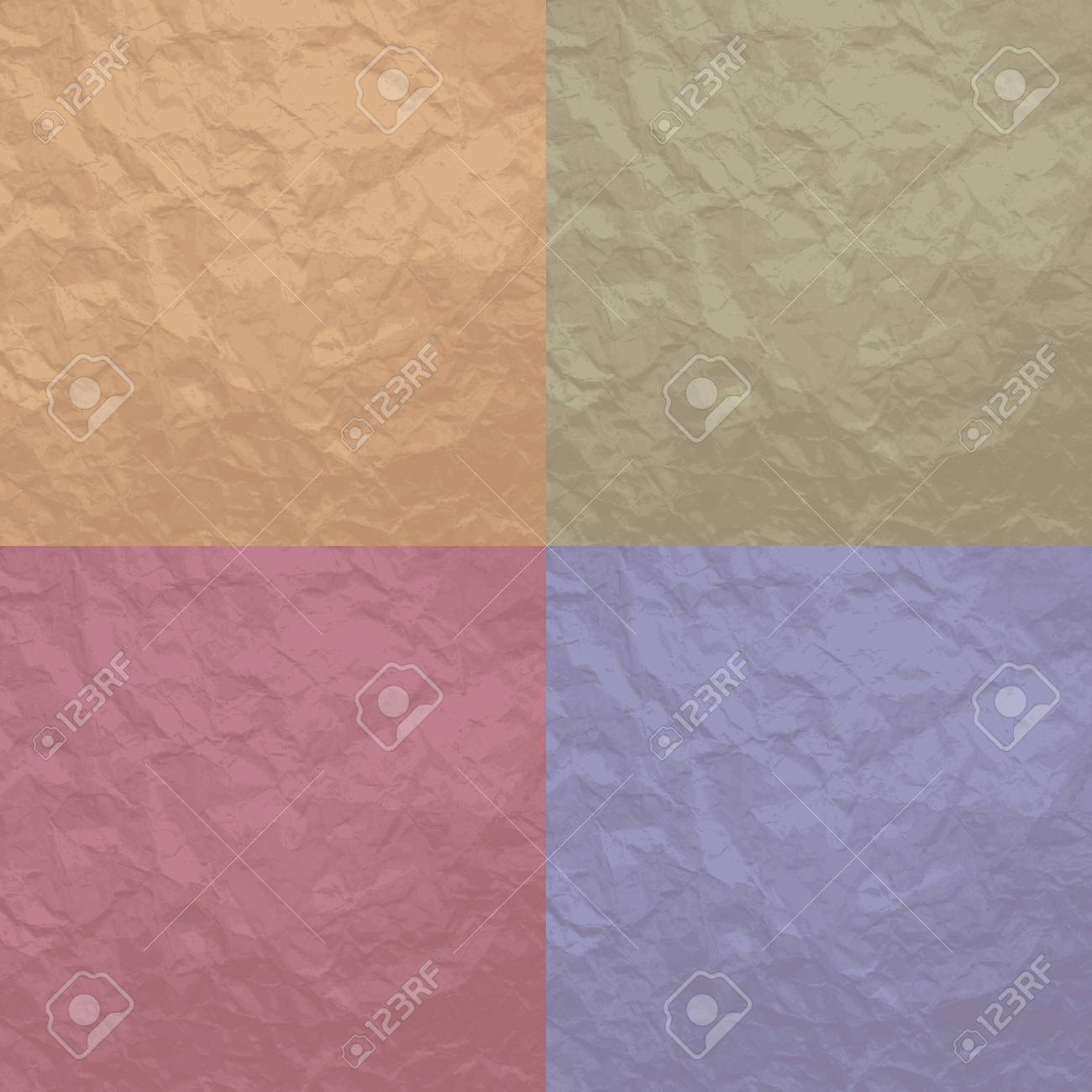 Set of 4 crumpled texture background for design Stock Vector - 16062396