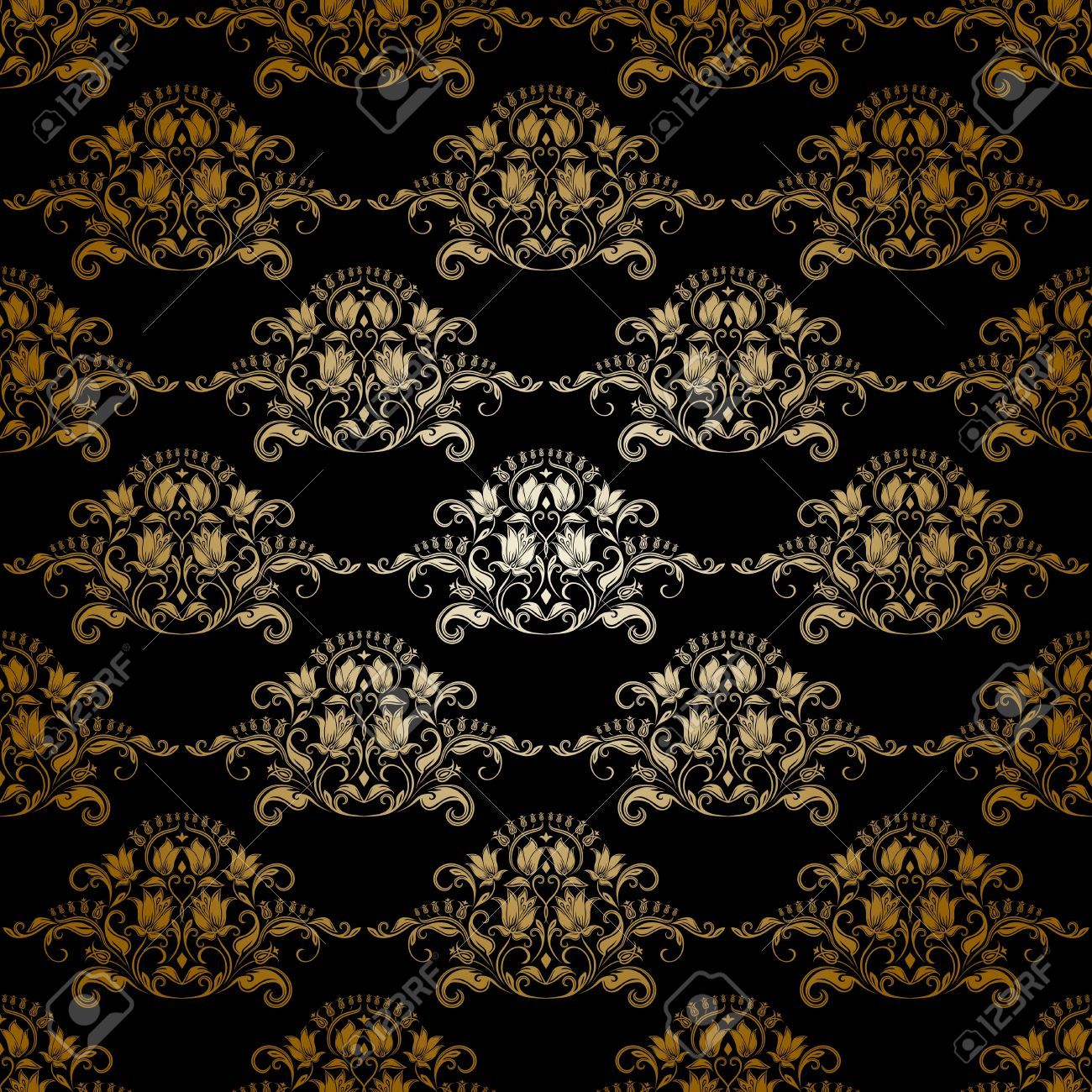 Damask Seamless Floral Pattern Royal Wallpaper Flowers On A Dark Background Stock Vector