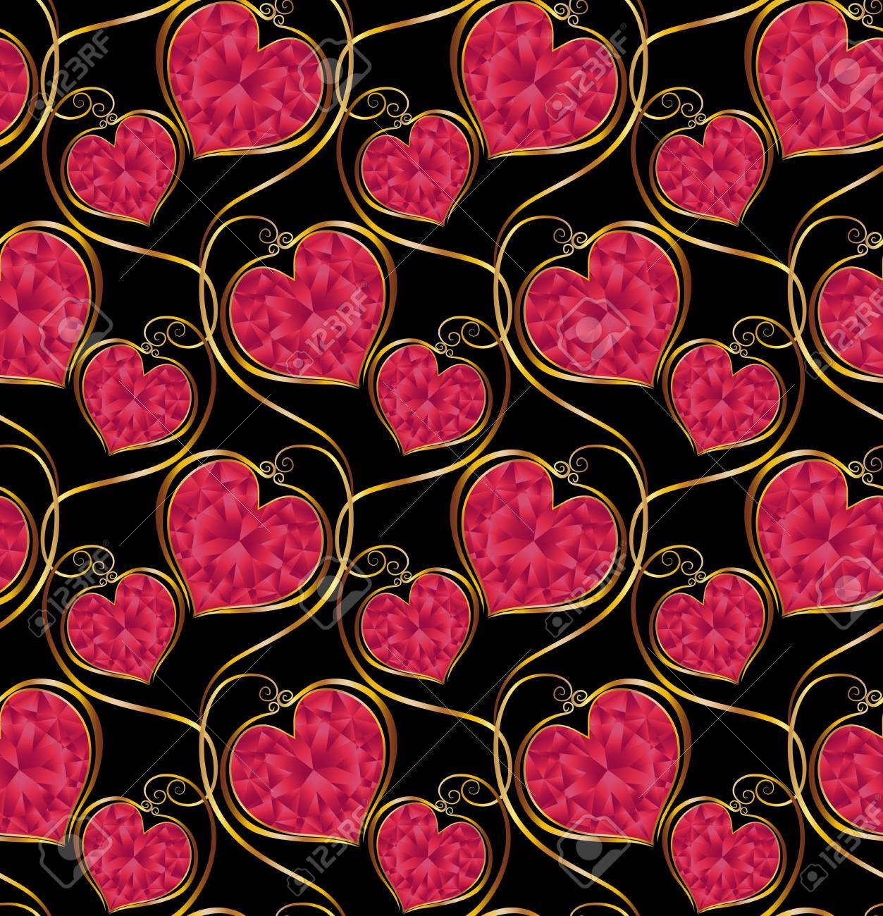 17503568-Seamless-vector-pattern-Red-heart-shaped-diamonds-on-a-black--Stock-Photo